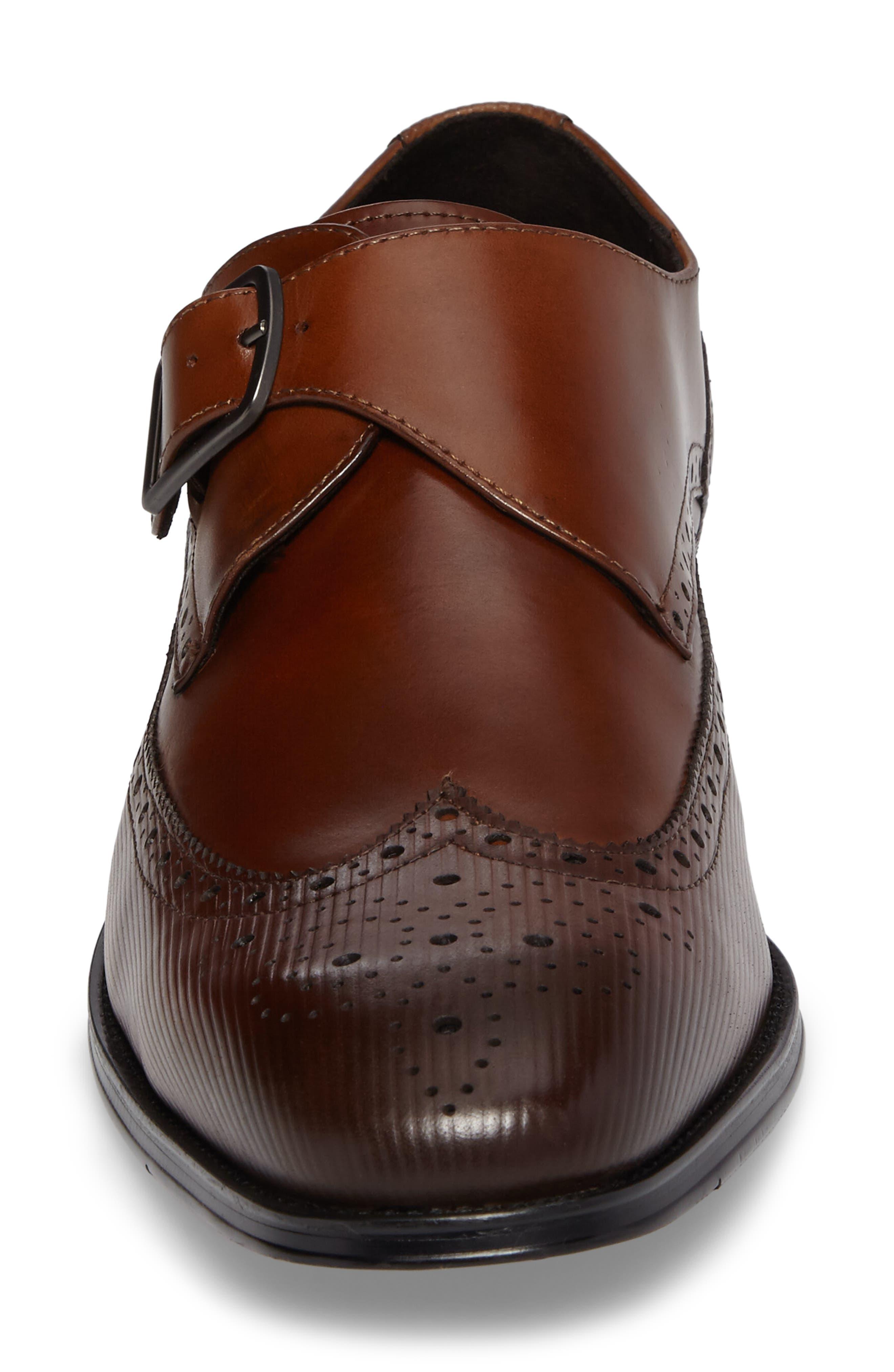 Design Monk Strap Shoe,                             Alternate thumbnail 4, color,                             Cognac Leather