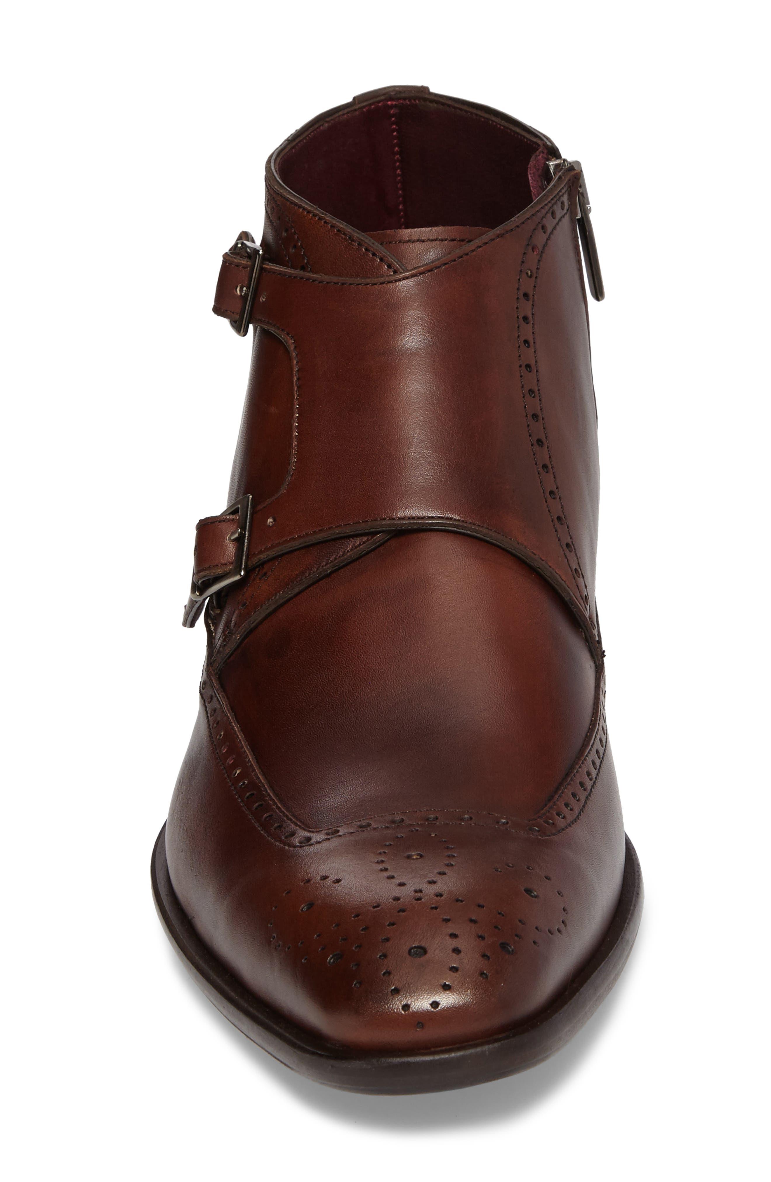 Taberna Double Monk Strap Boot,                             Alternate thumbnail 4, color,                             Cognac Leather