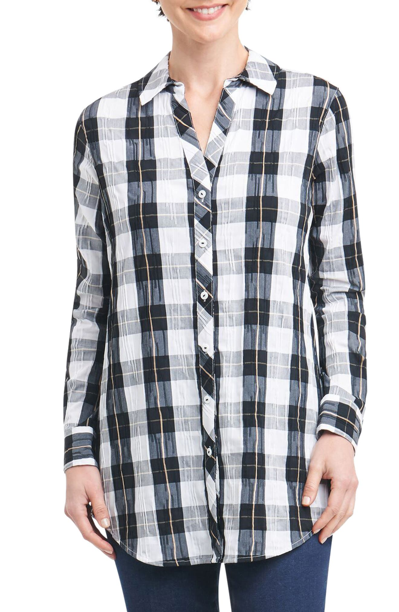 Fay Crinkle Plaid Stretch Cotton Blend Tunic Shirt,                         Main,                         color, Black