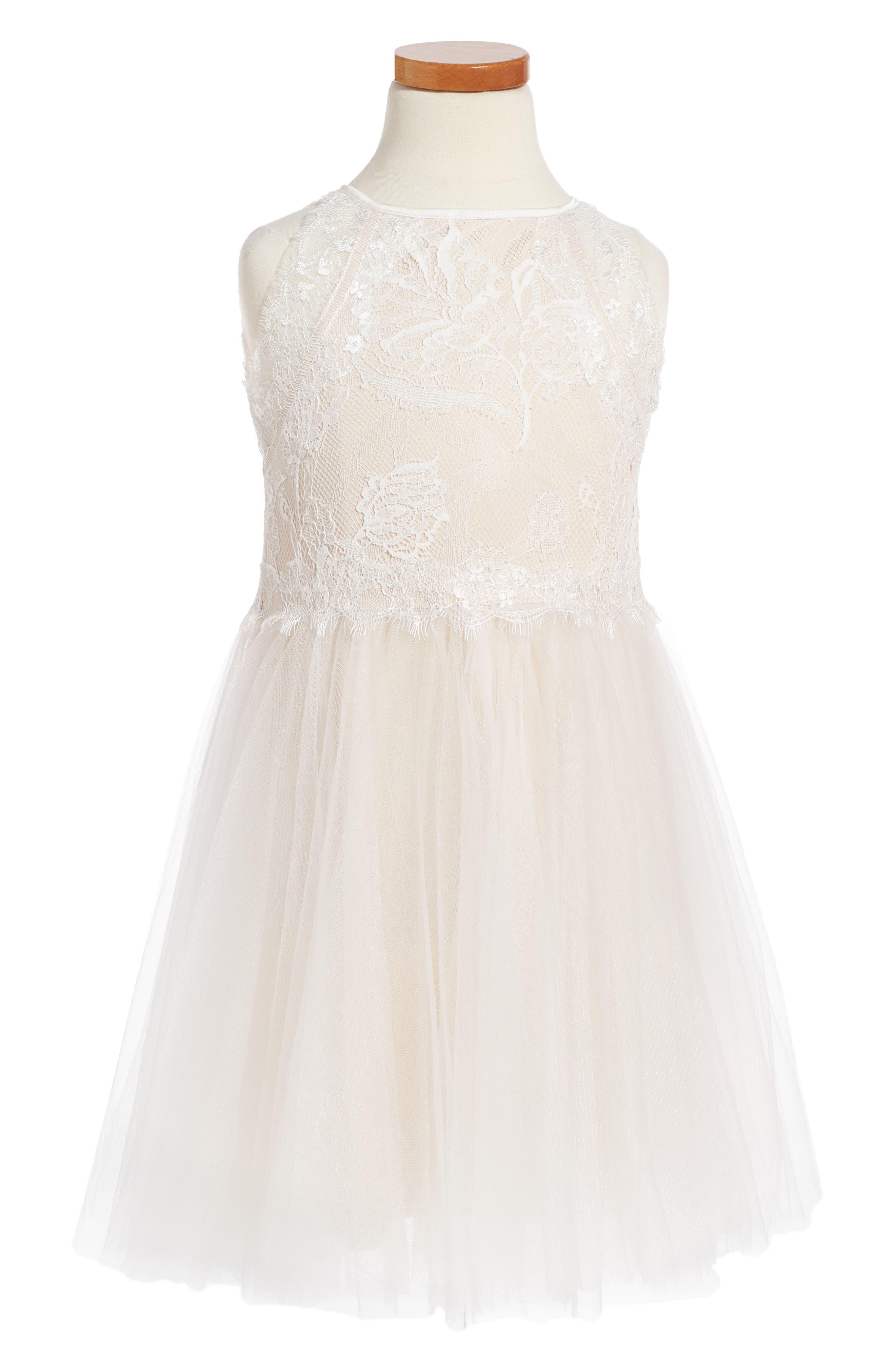 Sleeveless Lace Dress,                         Main,                         color, Ivory/ Petal