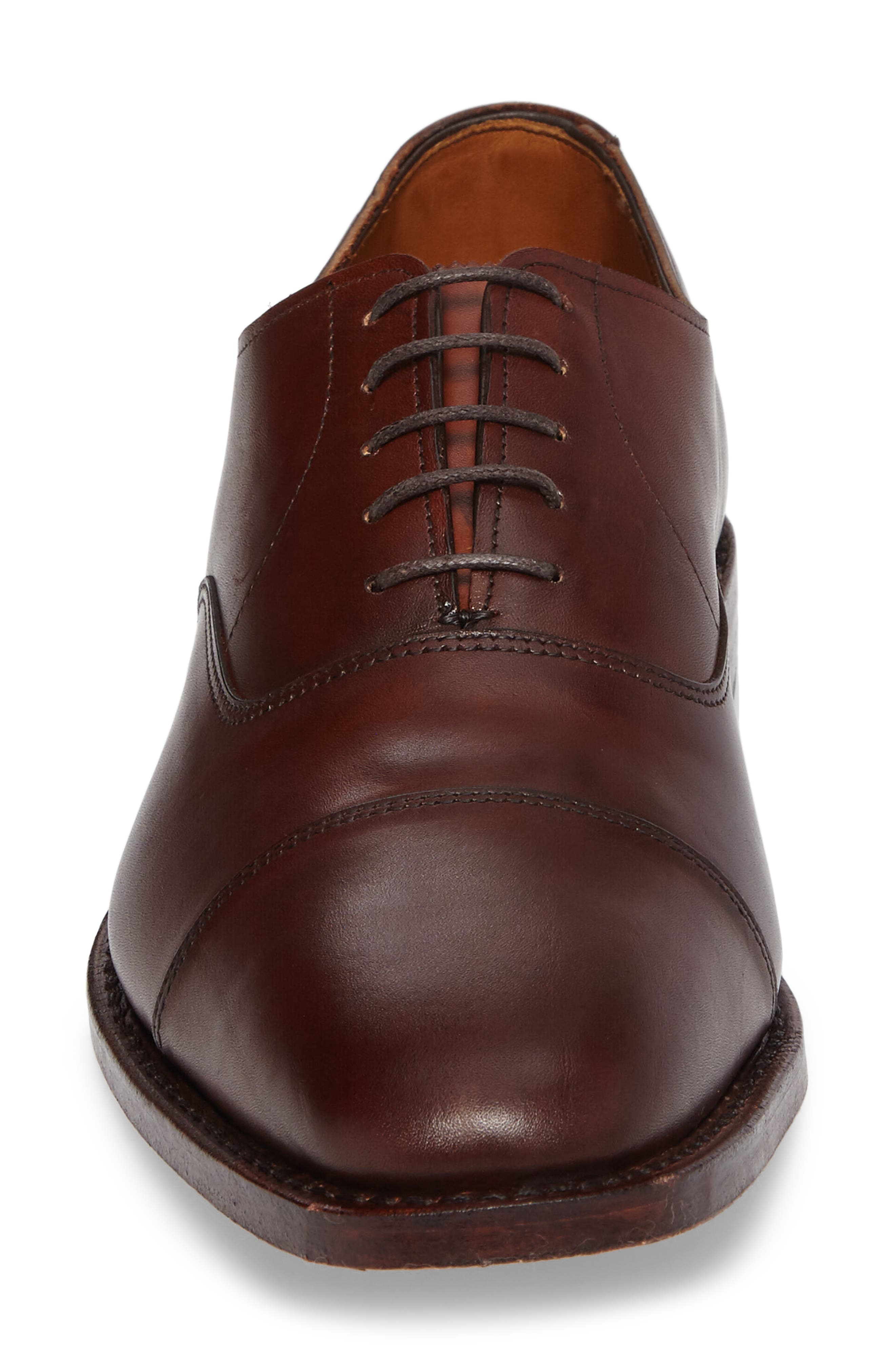 'Exchange Place' Cap Toe Oxford,                             Alternate thumbnail 4, color,                             Dark Chili Leather