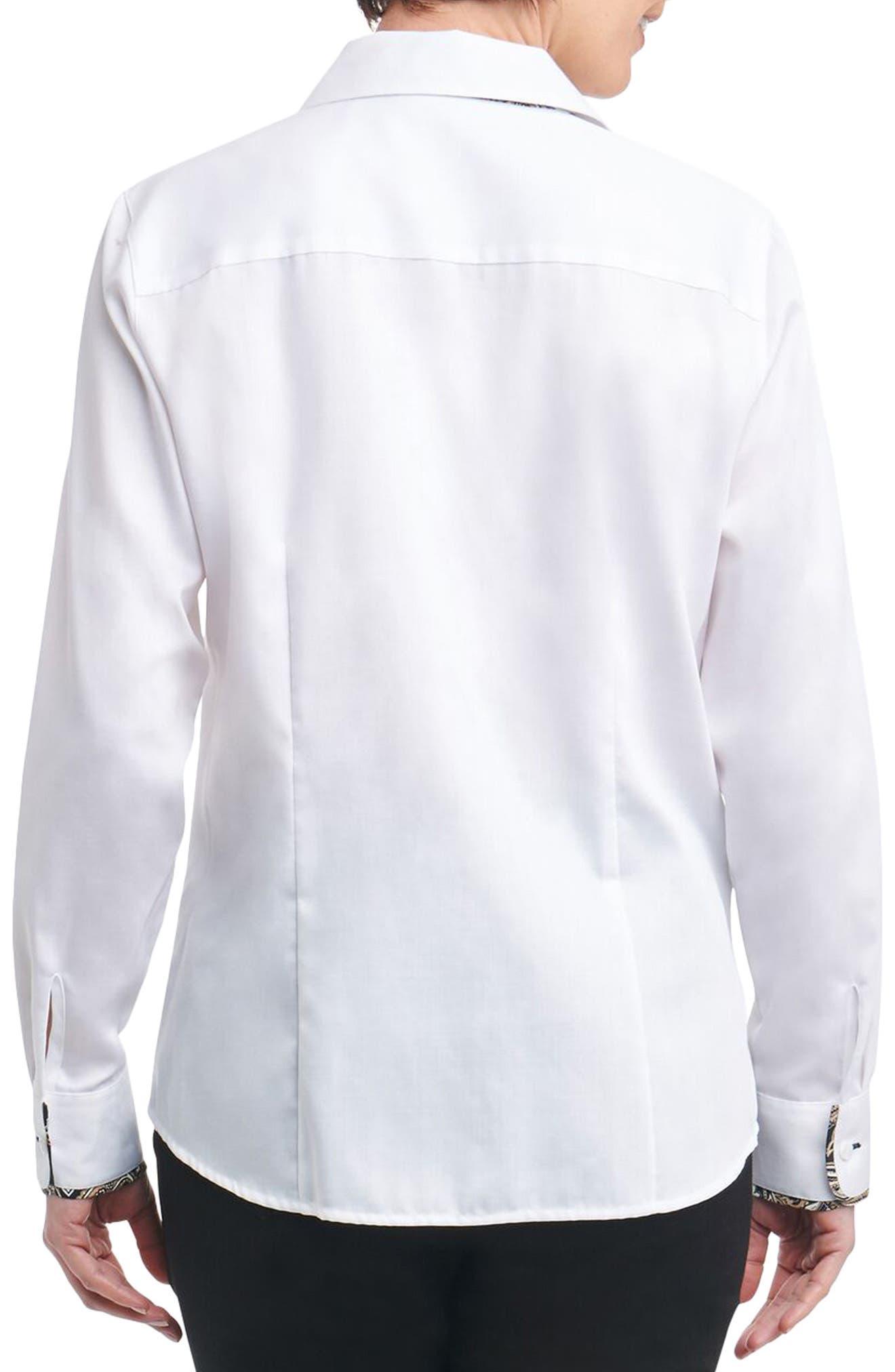 Alternate Image 2  - Foxcroft Brooke Contrast Trim Sateen Shirt
