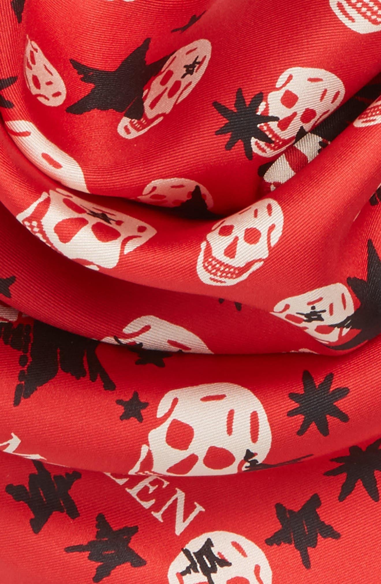 Starlight Skull Silk Bandana,                             Alternate thumbnail 3, color,                             Red/ Pink