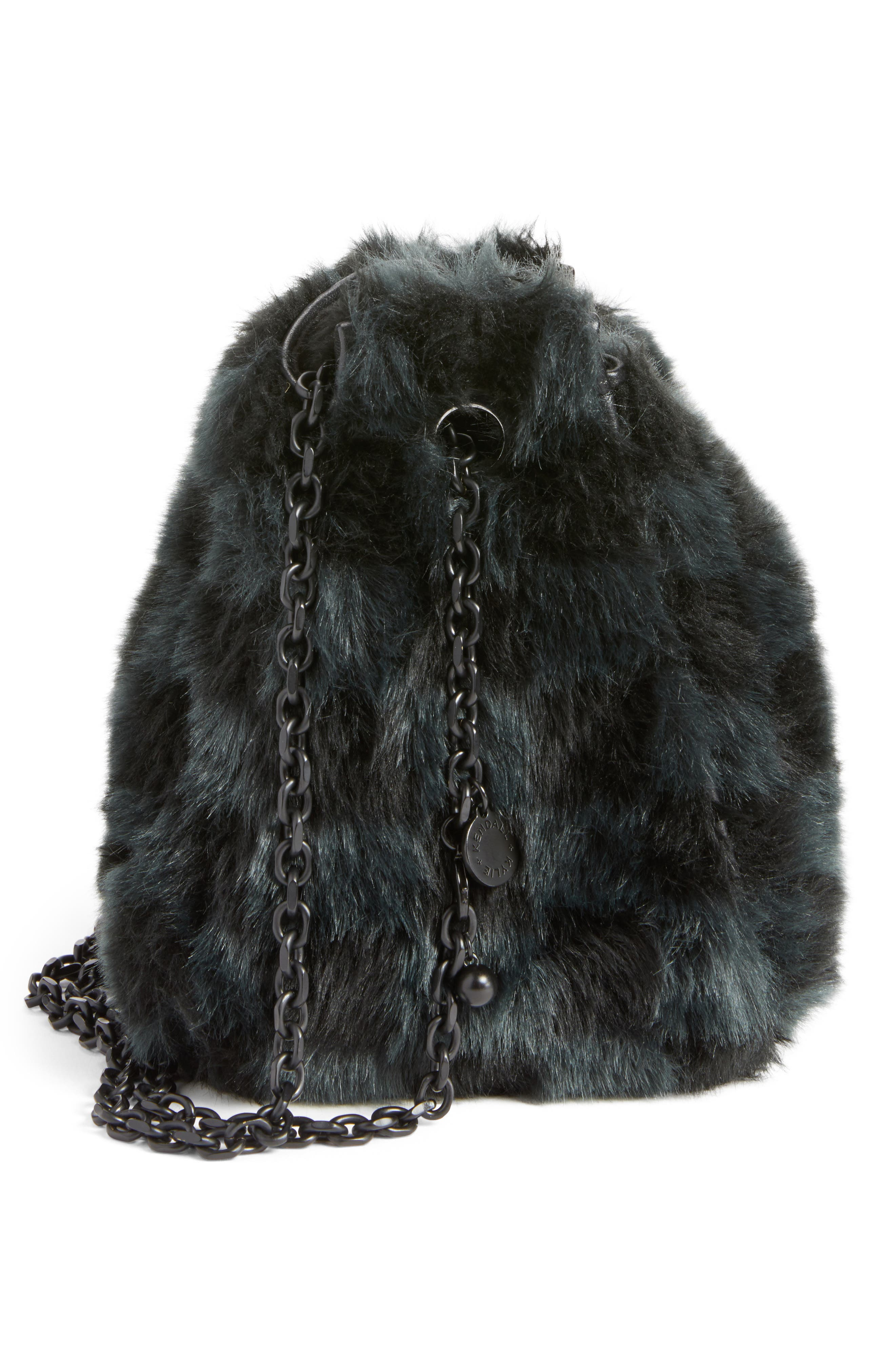 Faux Fur Bucket Bag,                             Alternate thumbnail 6, color,                             Black Checkered