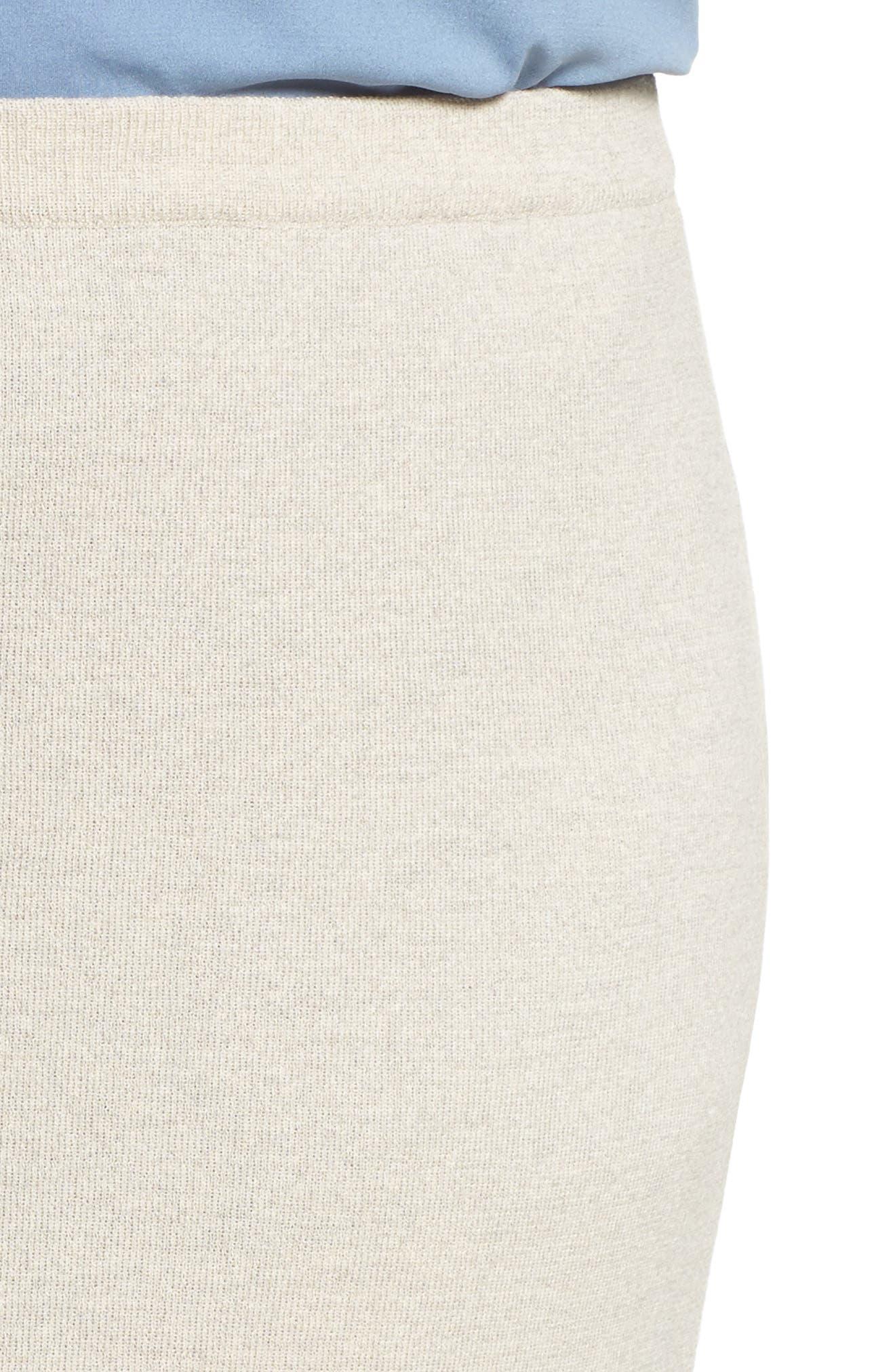 Wool Knit Pencil Skirt,                             Alternate thumbnail 4, color,                             Sea Salt