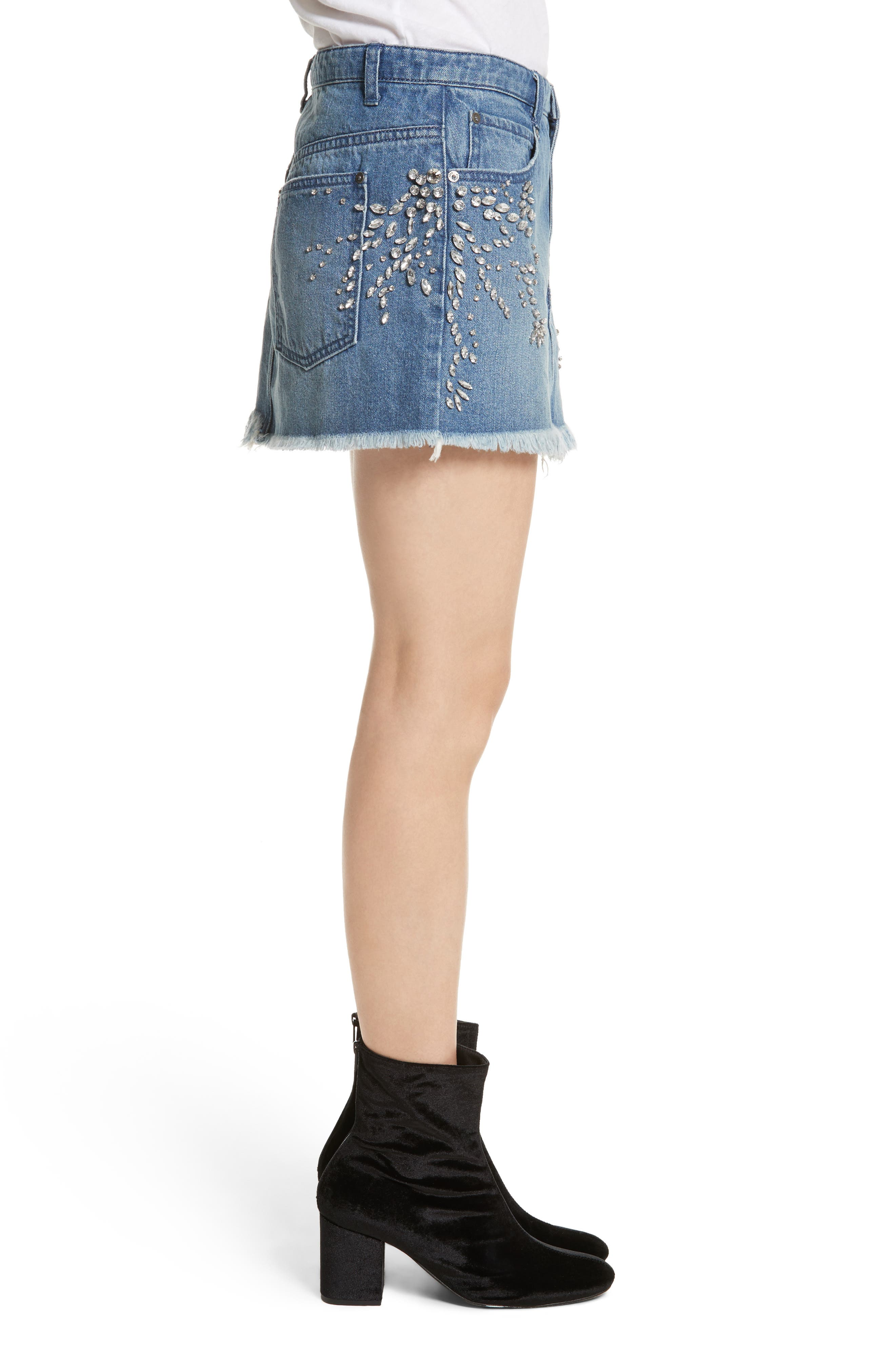 Alternate Image 3  - Free People Shine Bright Shine Far Cutoff Denim Miniskirt