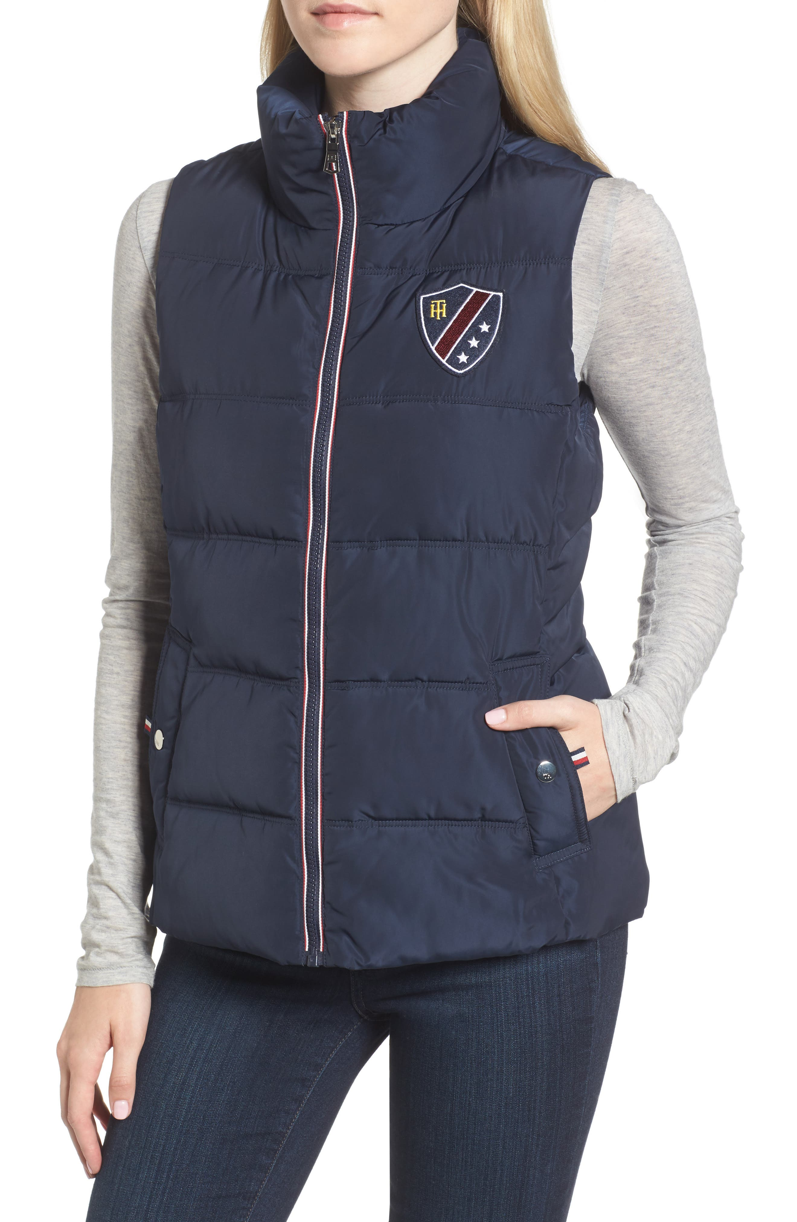 Quilted Puffer Vest,                             Alternate thumbnail 4, color,                             Navy