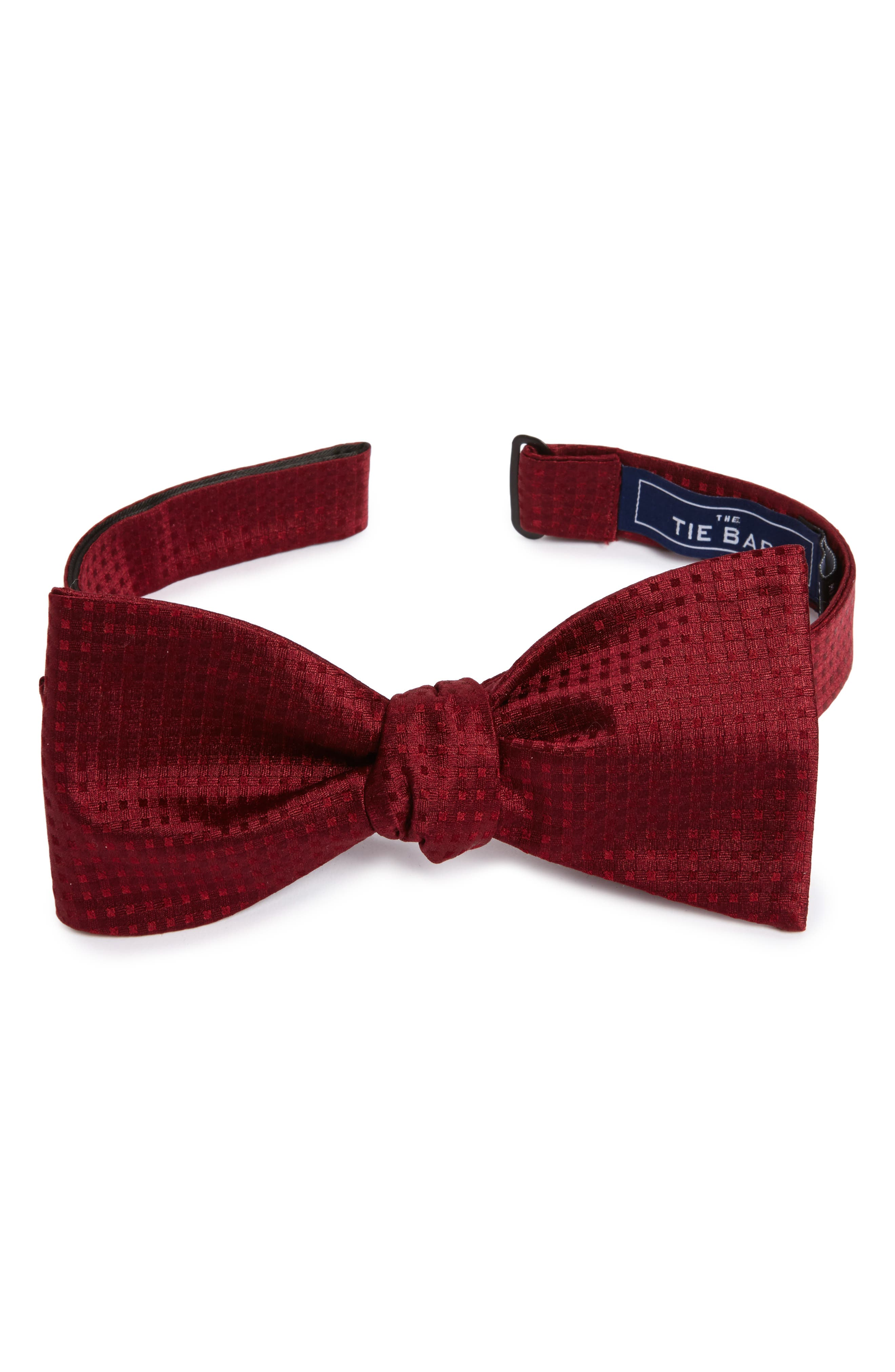 Check Mates Silk Bow Tie,                         Main,                         color, Burgundy