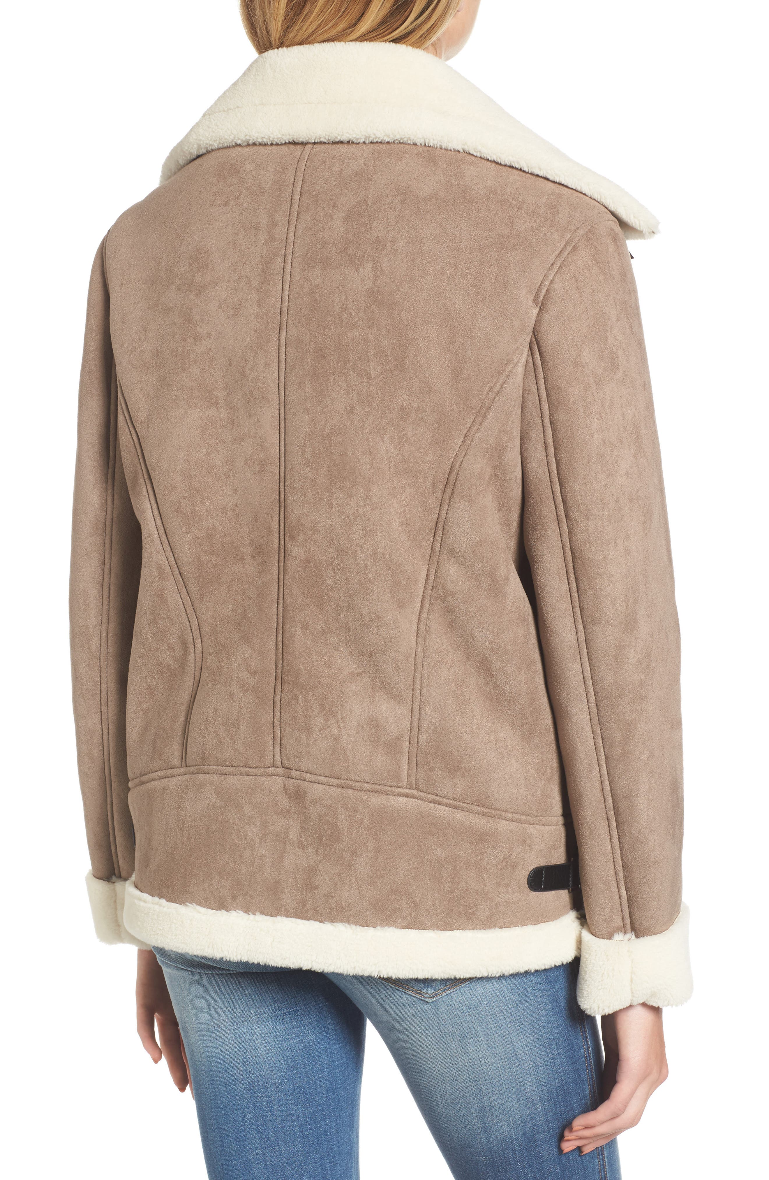 Faux Shearling Oversized Jacket,                             Alternate thumbnail 2, color,                             Beige