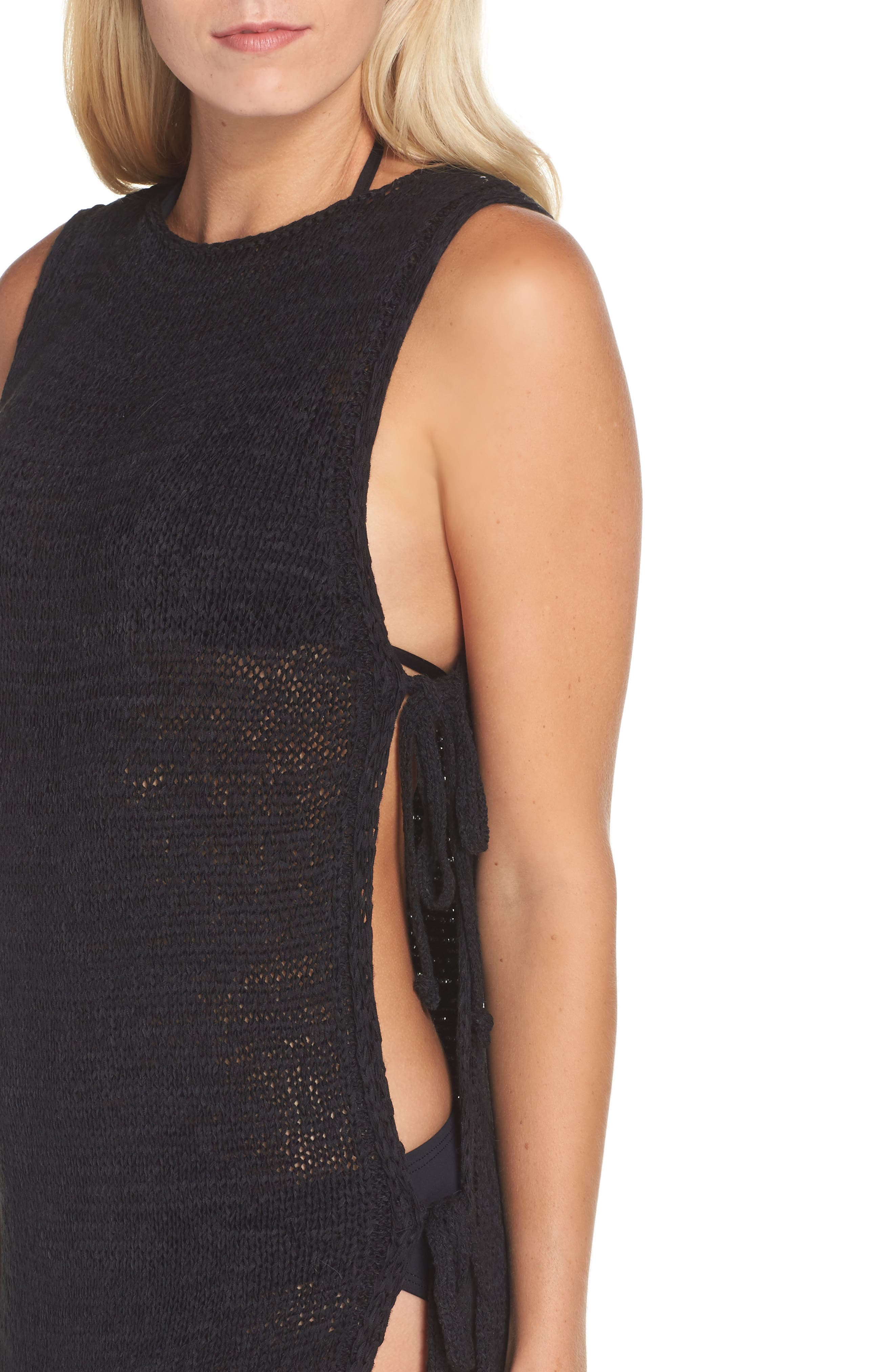 Sweater Cover-Up Tunic,                             Alternate thumbnail 4, color,                             Black