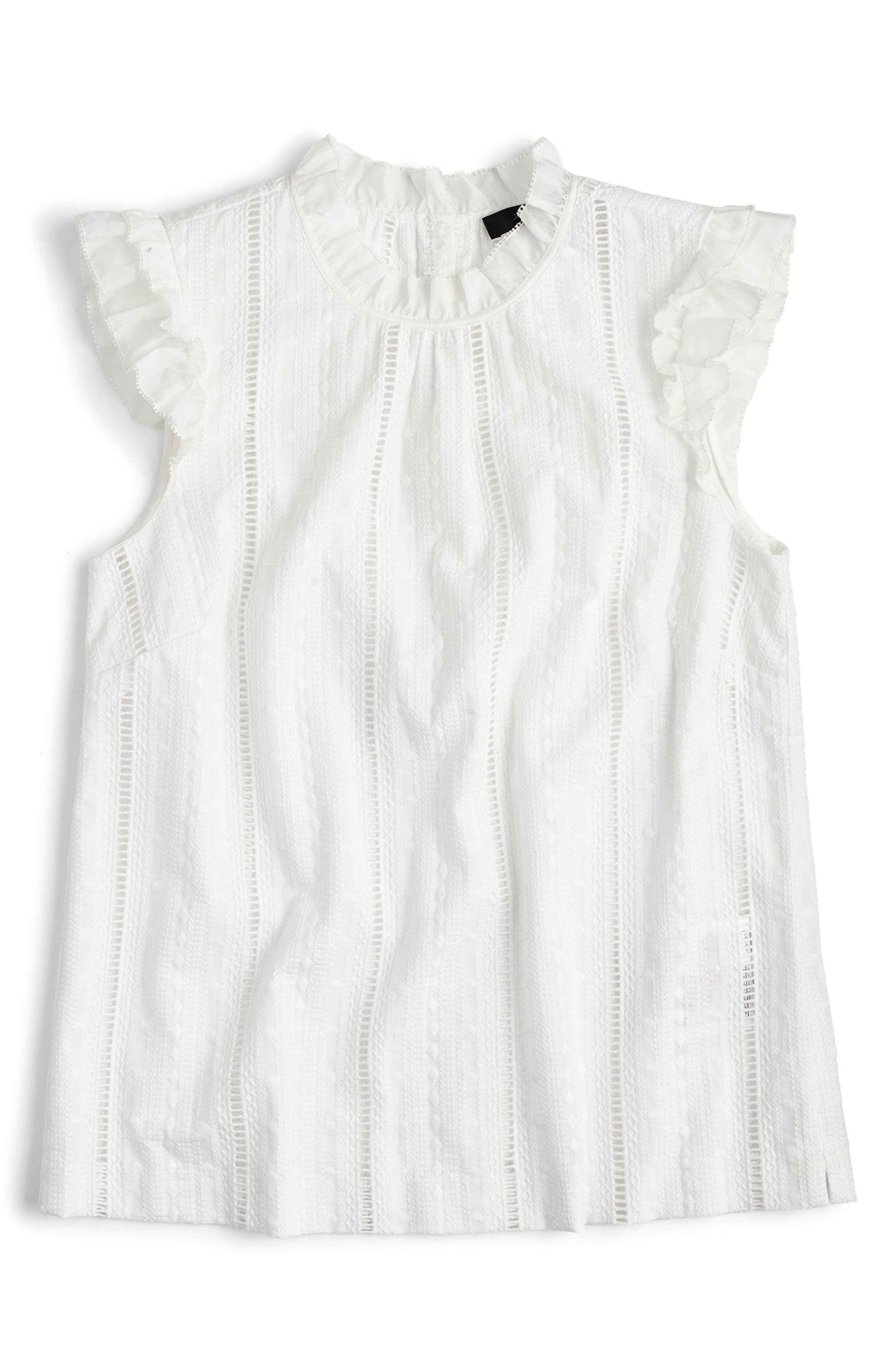 J.Crew Eyelet Ruffle Mock Neck Top (Regular & Petite)