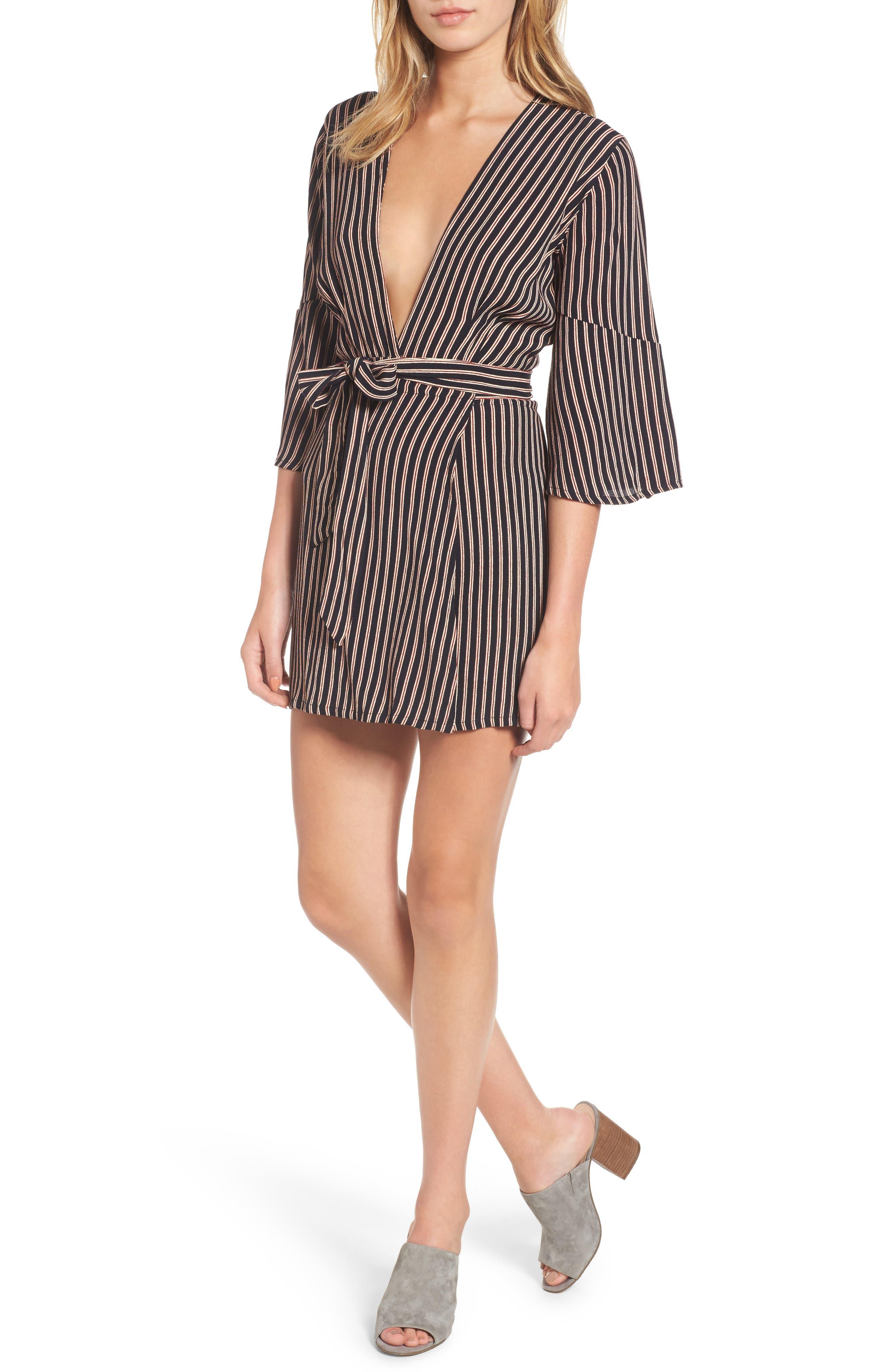 Corelli Plunge Wrap Dress,                         Main,                         color, San Marino Stripe Print