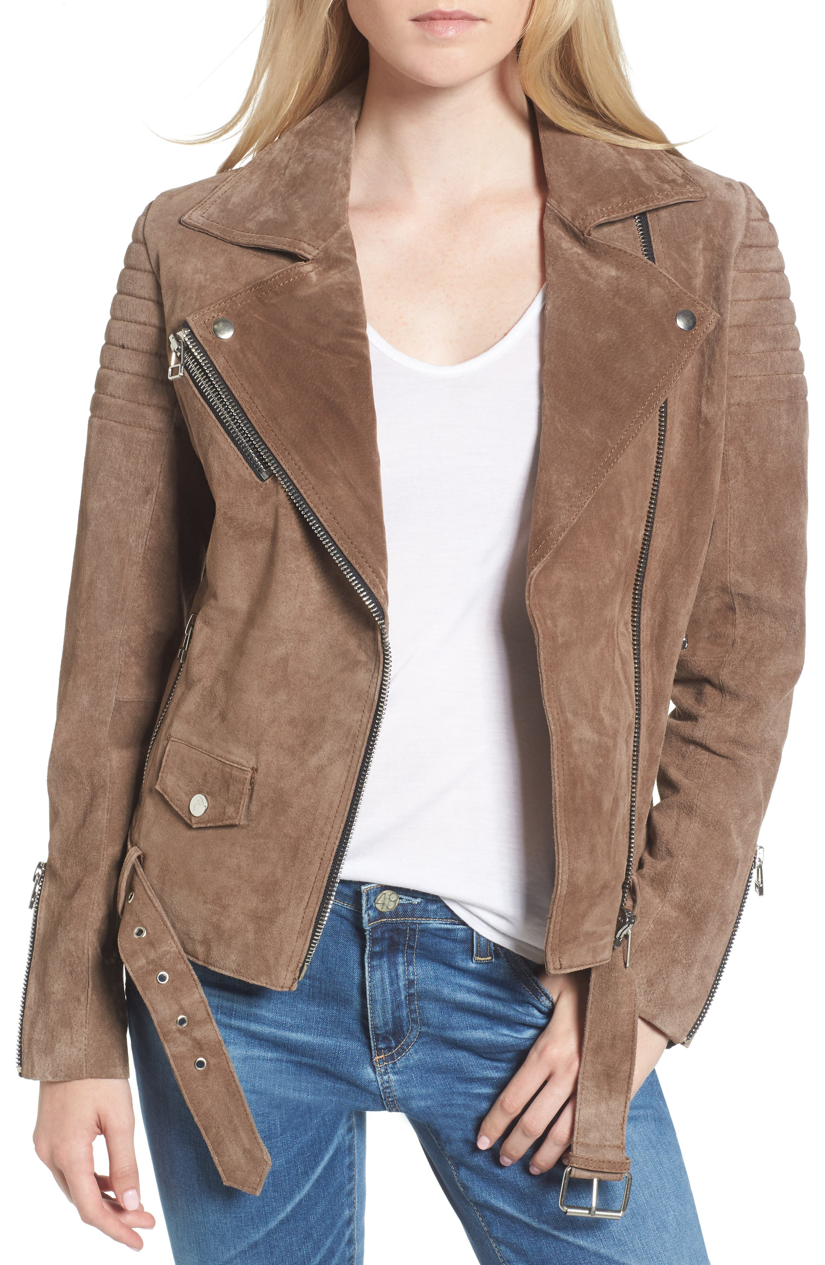 Suede Moto Jacket,                             Main thumbnail 1, color,                             Taupe