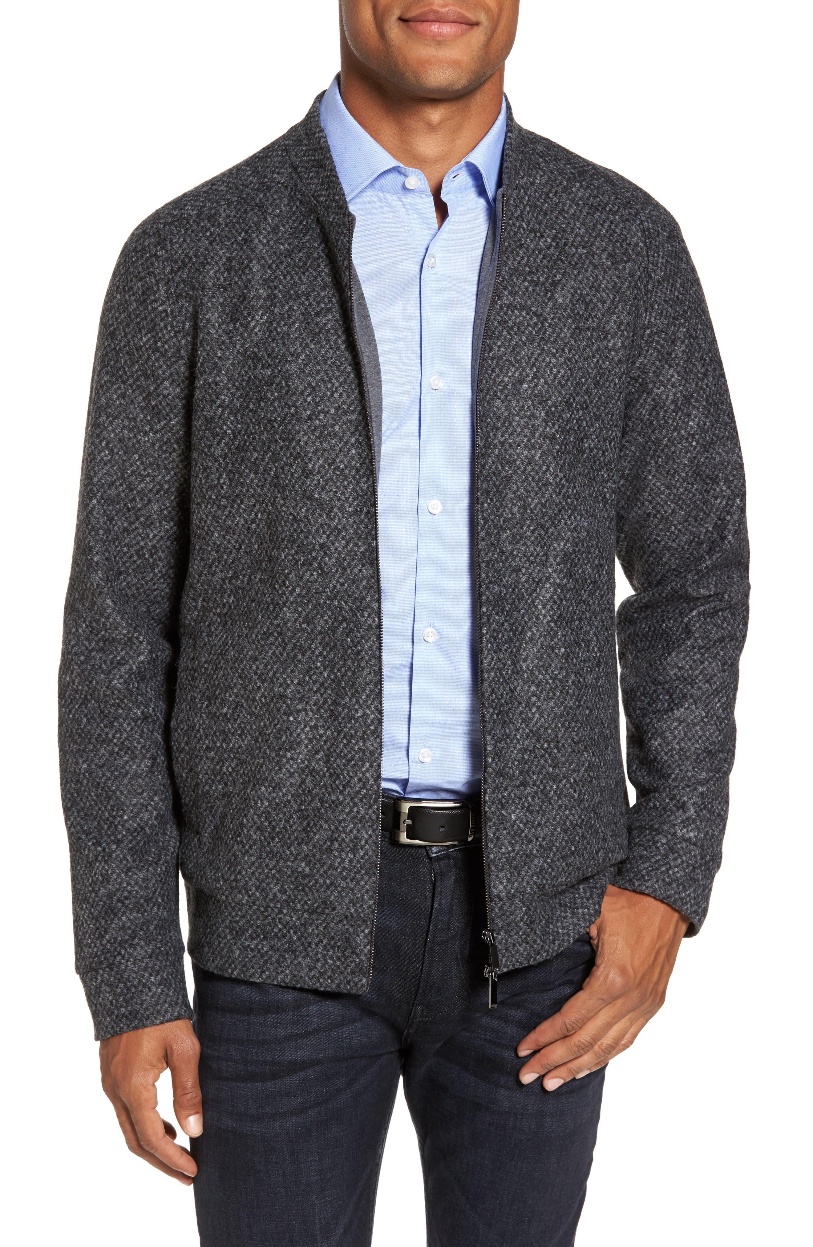 Salea Slim Fit Bomber Jacket,                         Main,                         color, Grey