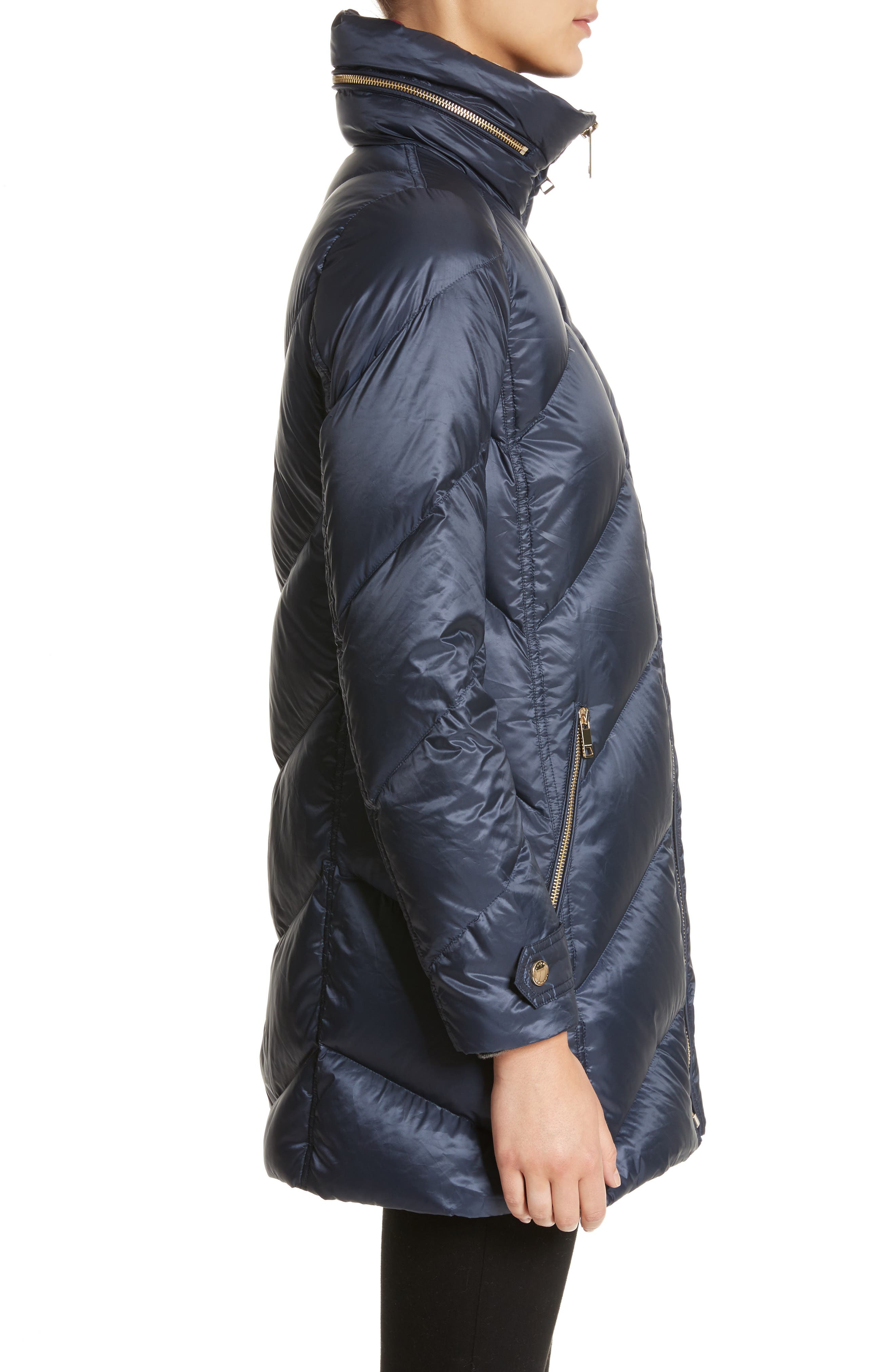Eastwick Chevron Quilted Coat,                             Alternate thumbnail 3, color,                             Ink