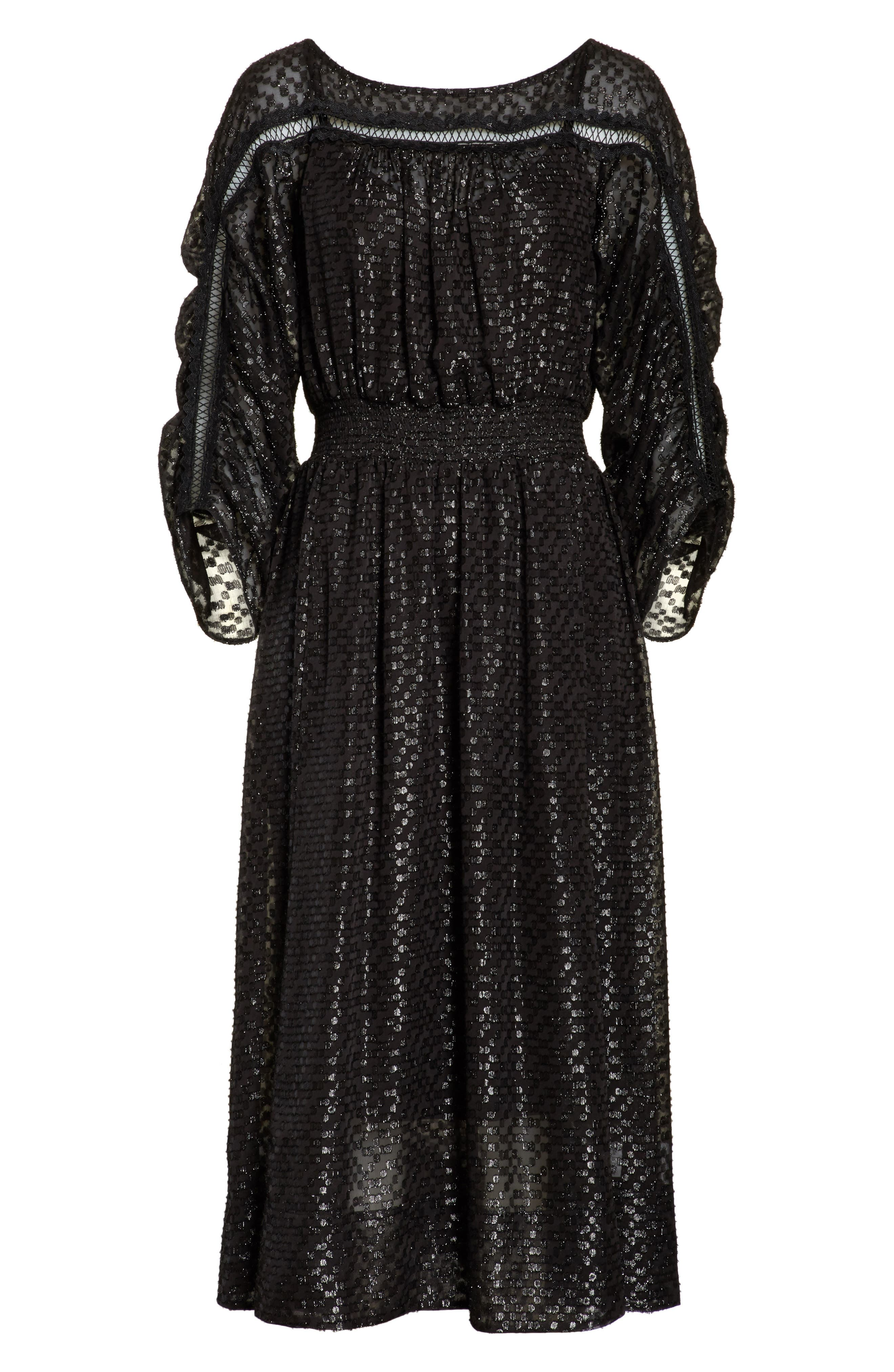 Alternate Image 6  - Tracy Reese Long Sleeve Metallic Dot Midi Dress