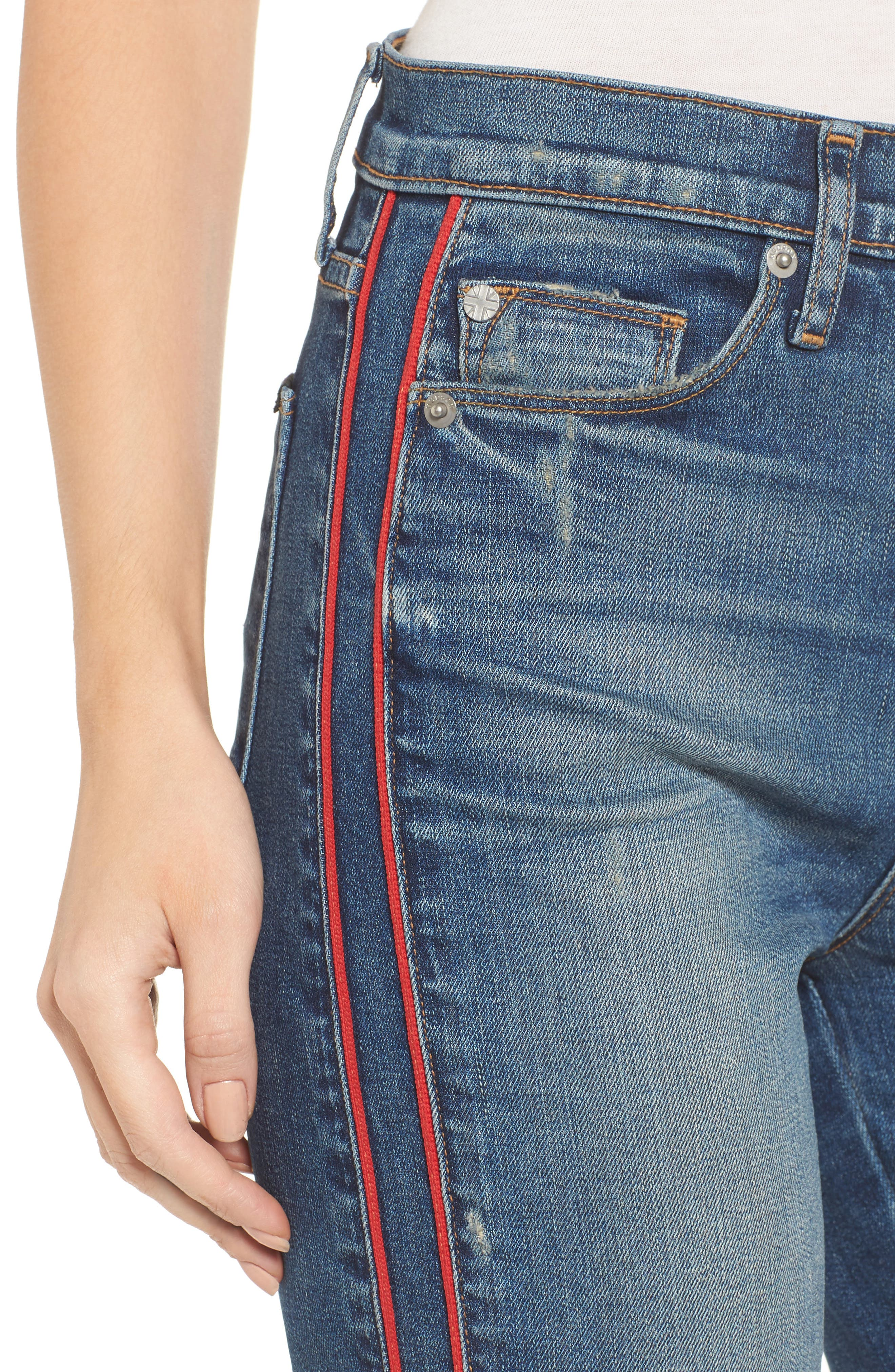 Zoeey High Waist Crop Jeans,                             Alternate thumbnail 4, color,                             Reform