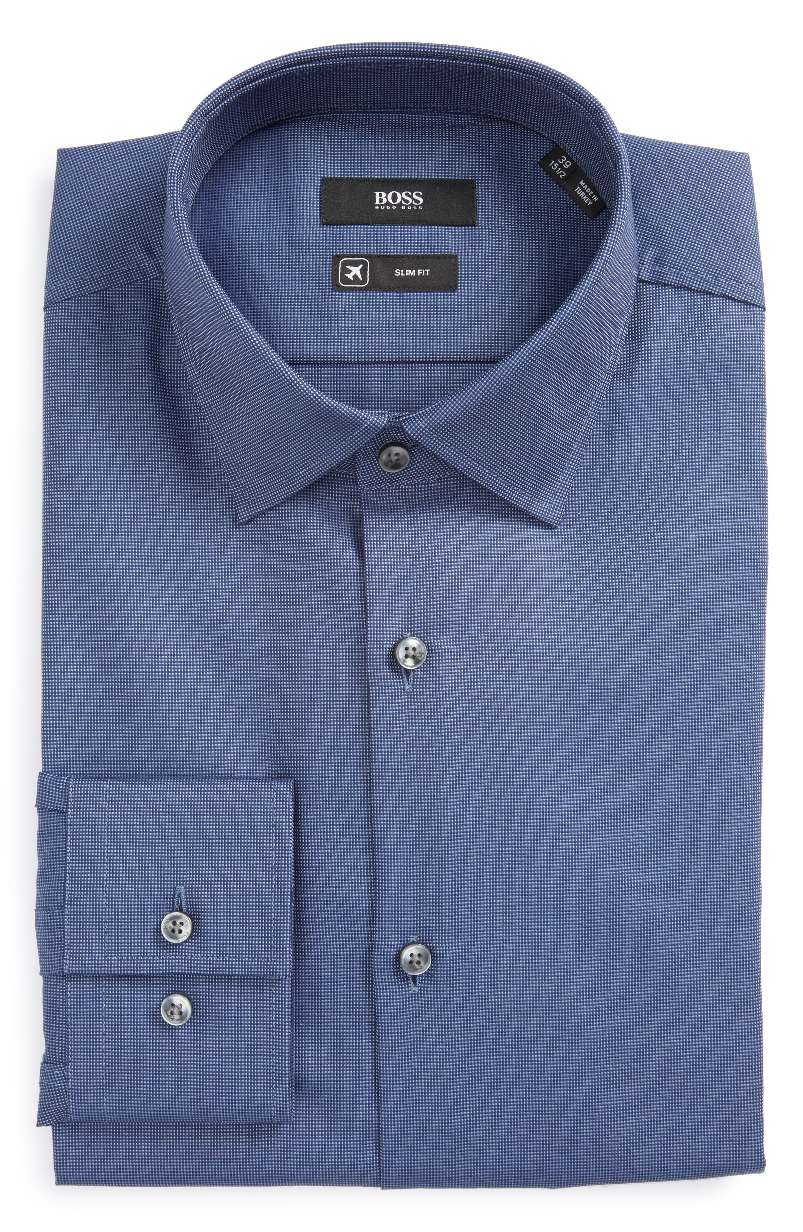 Jenno Slim Fit Solid Dress Shirt,                             Main thumbnail 1, color,                             Medium Blue