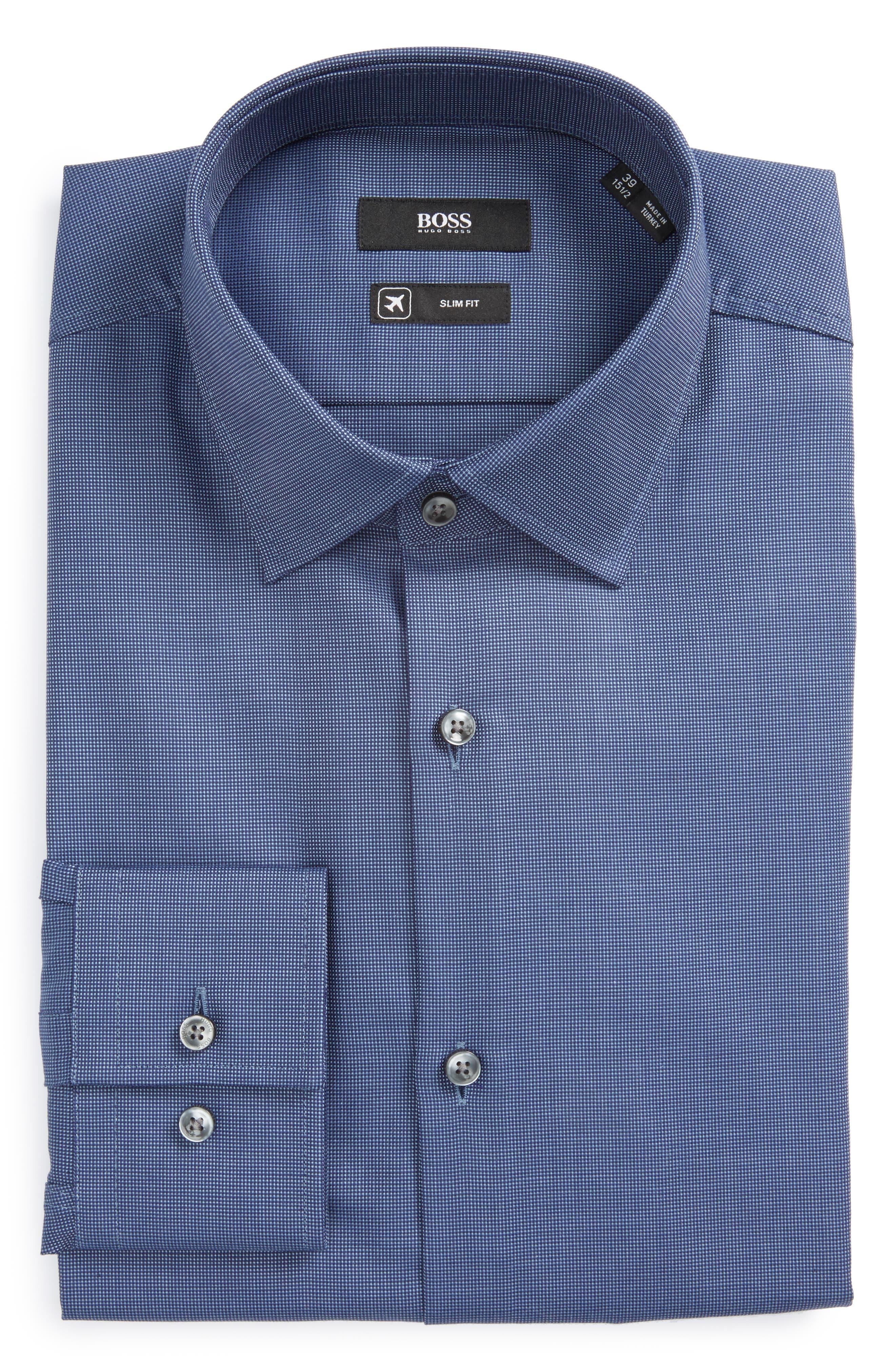 Jenno Slim Fit Solid Dress Shirt,                         Main,                         color, Medium Blue