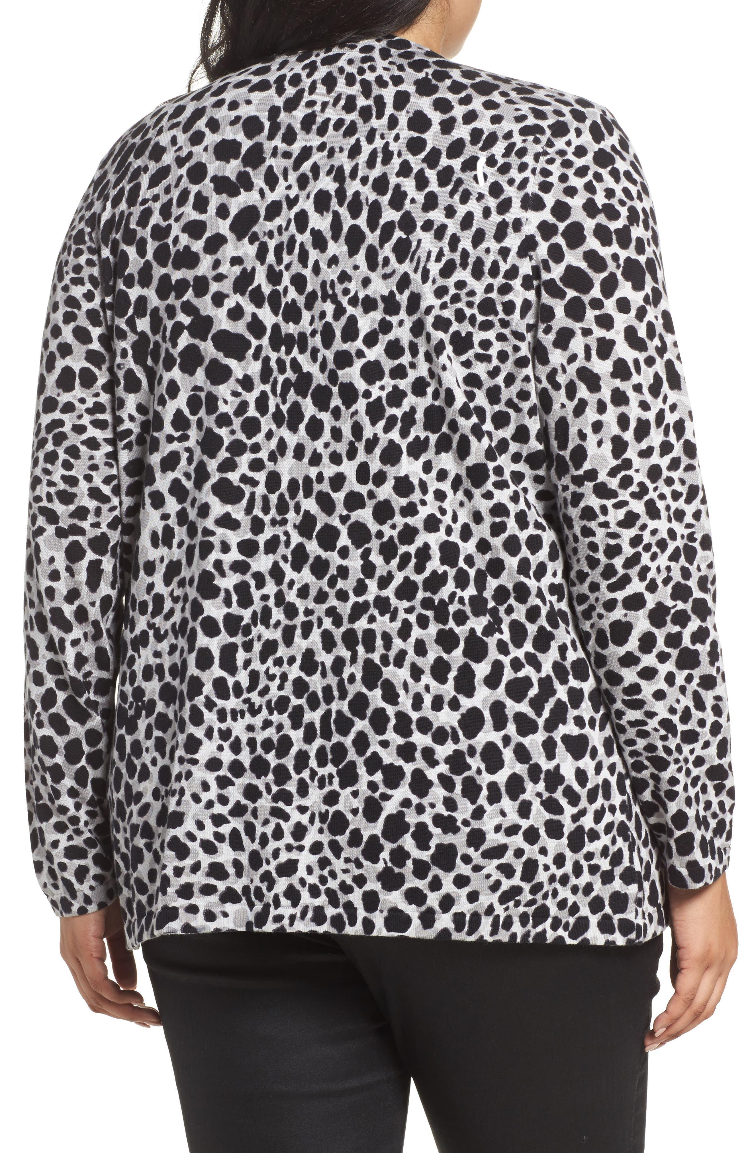 Alternate Image 2  - Foxcroft Maya Leopard Print Cotton Cardigan (Plus Size)