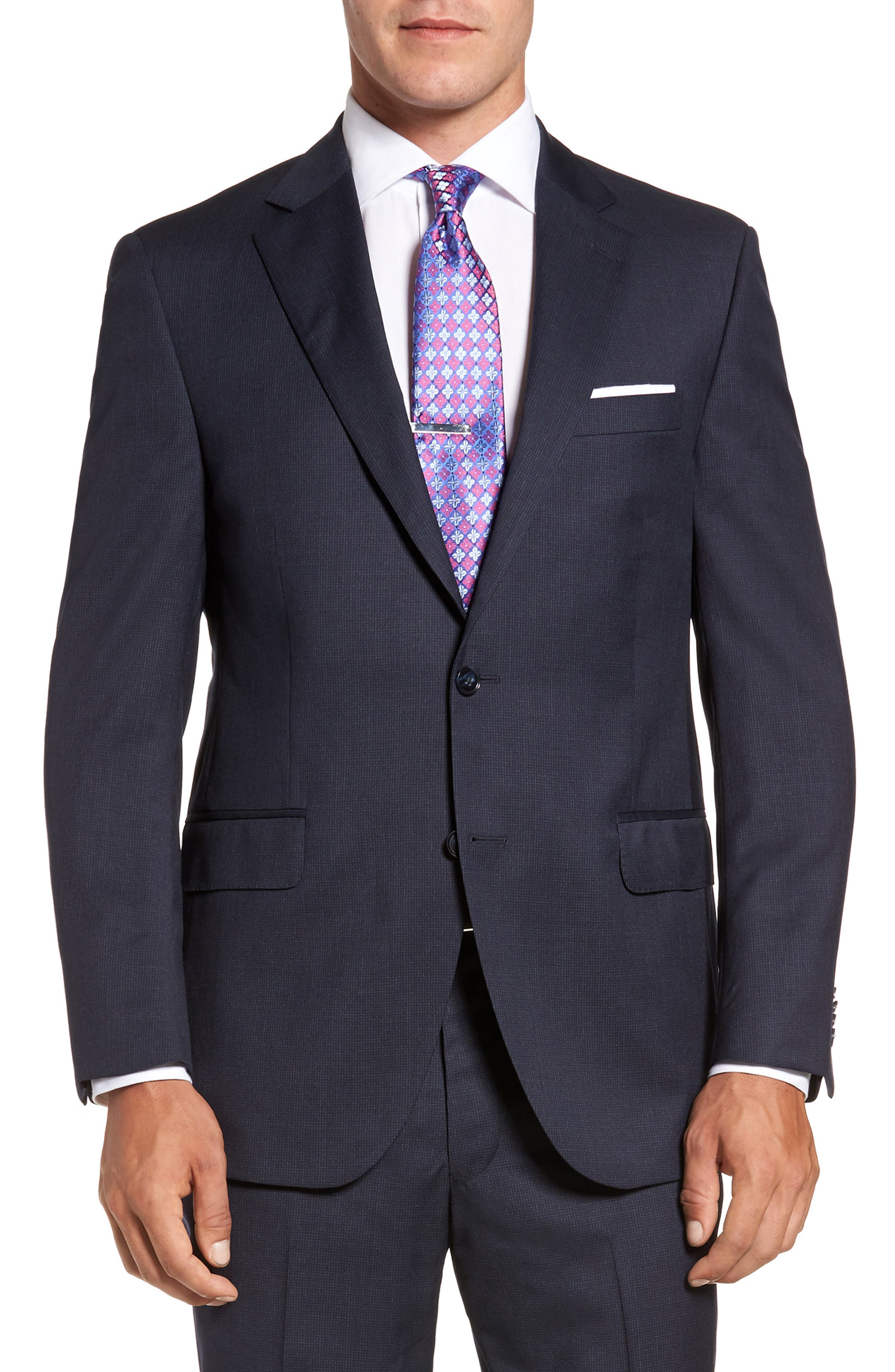 Flynn Classic Fit Check Wool Suit,                             Alternate thumbnail 5, color,                             Navy