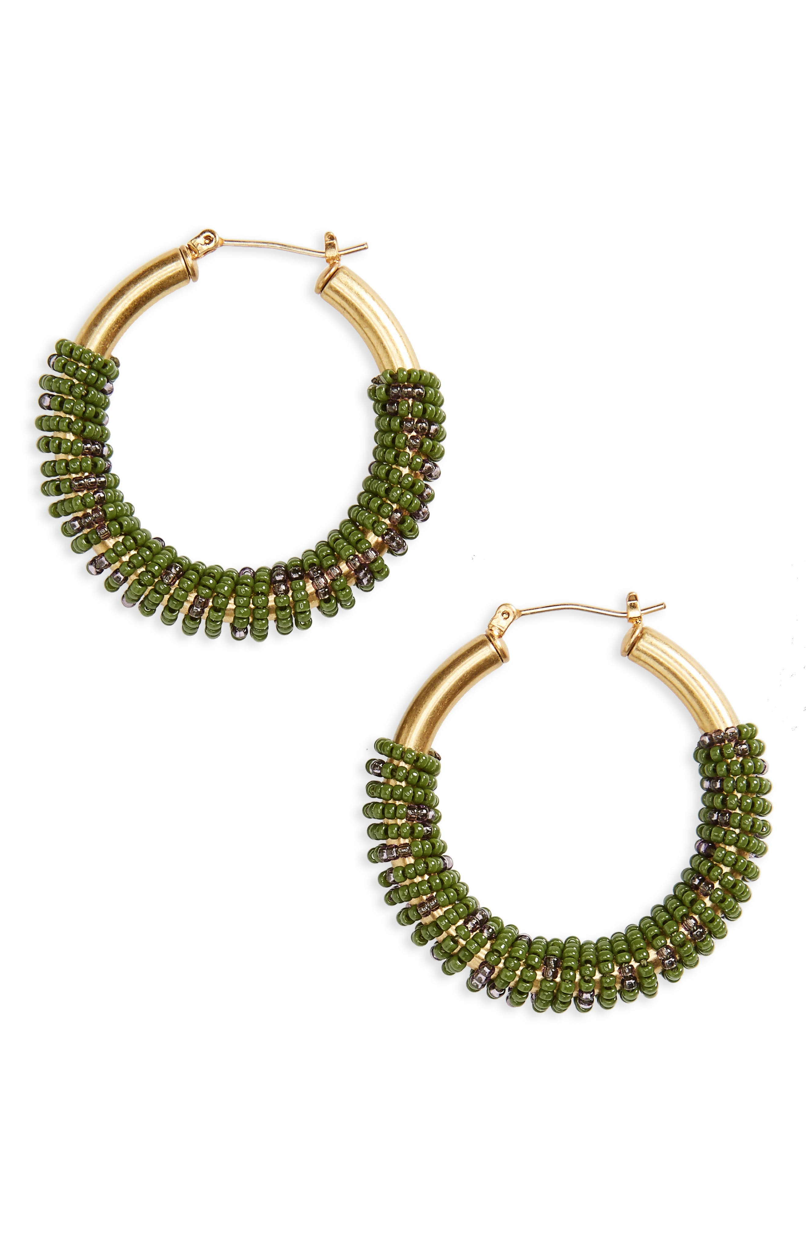 Bead Wrapped Hoop Earrings,                         Main,                         color, Southern Moss