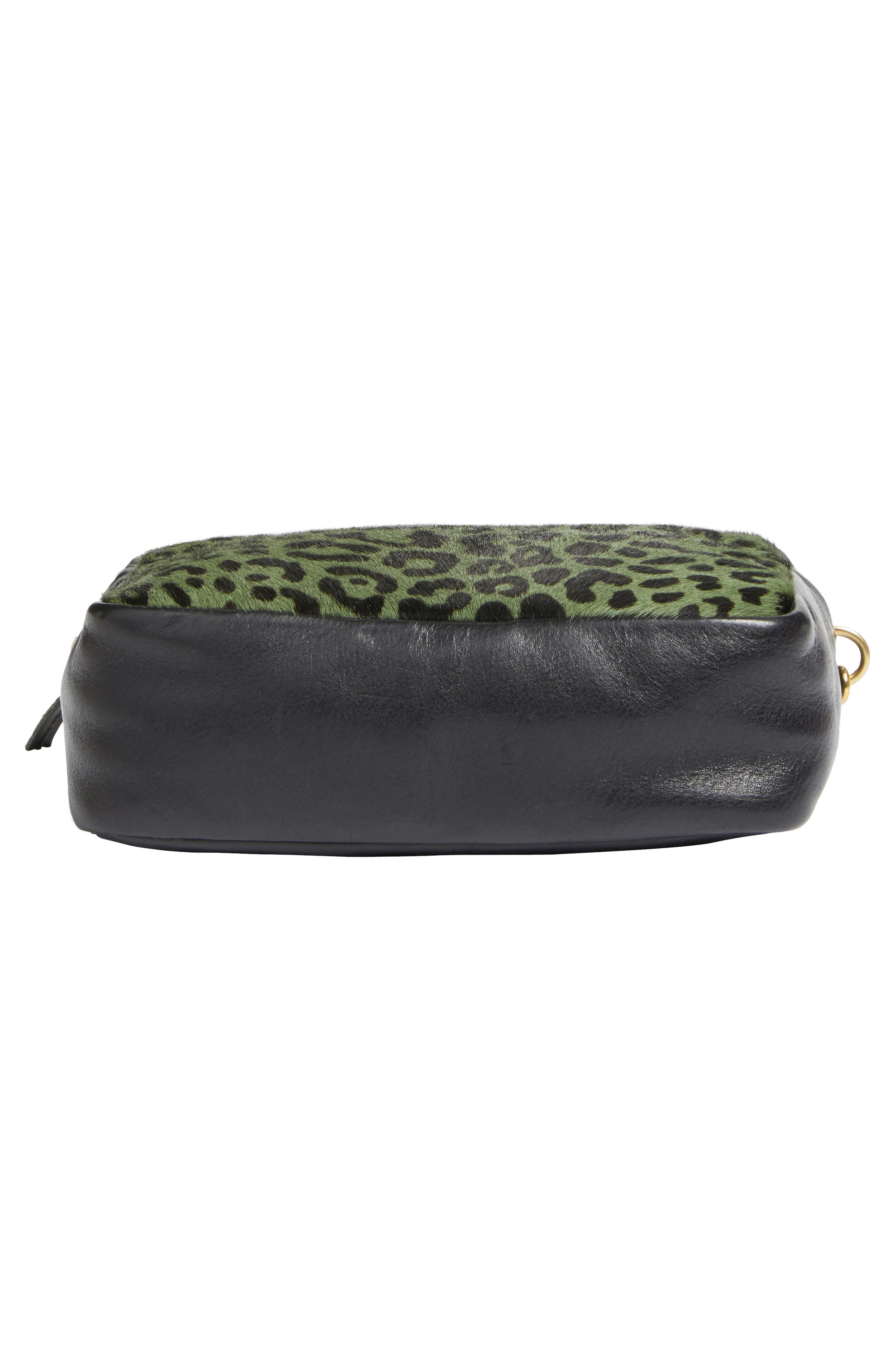 Midi Sac Leather & Genuine Calf Hair Shoulder Bag,                             Alternate thumbnail 6, color,                             Agave Leopard