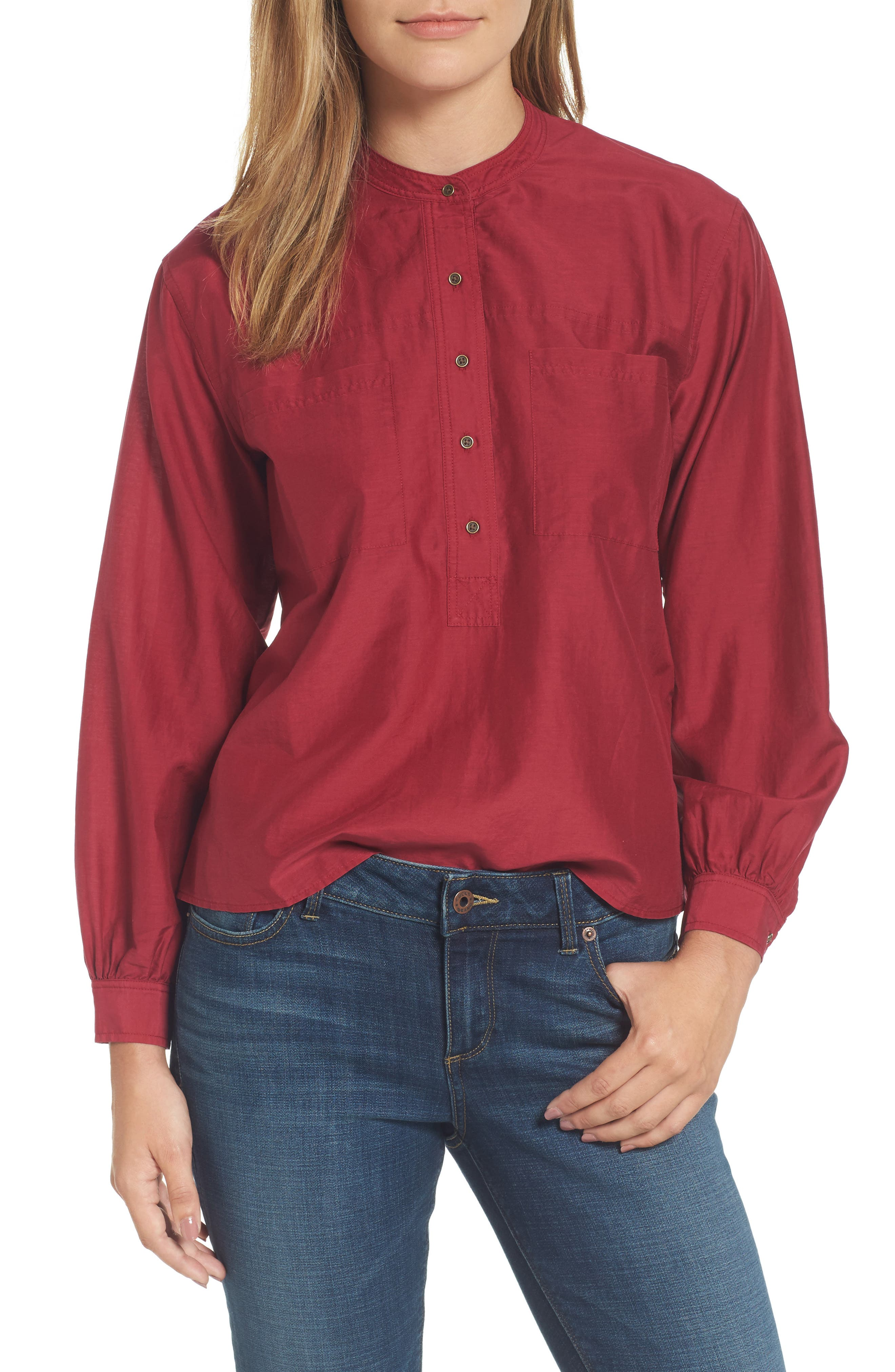 Pullover Blouse,                         Main,                         color, Rumba Red