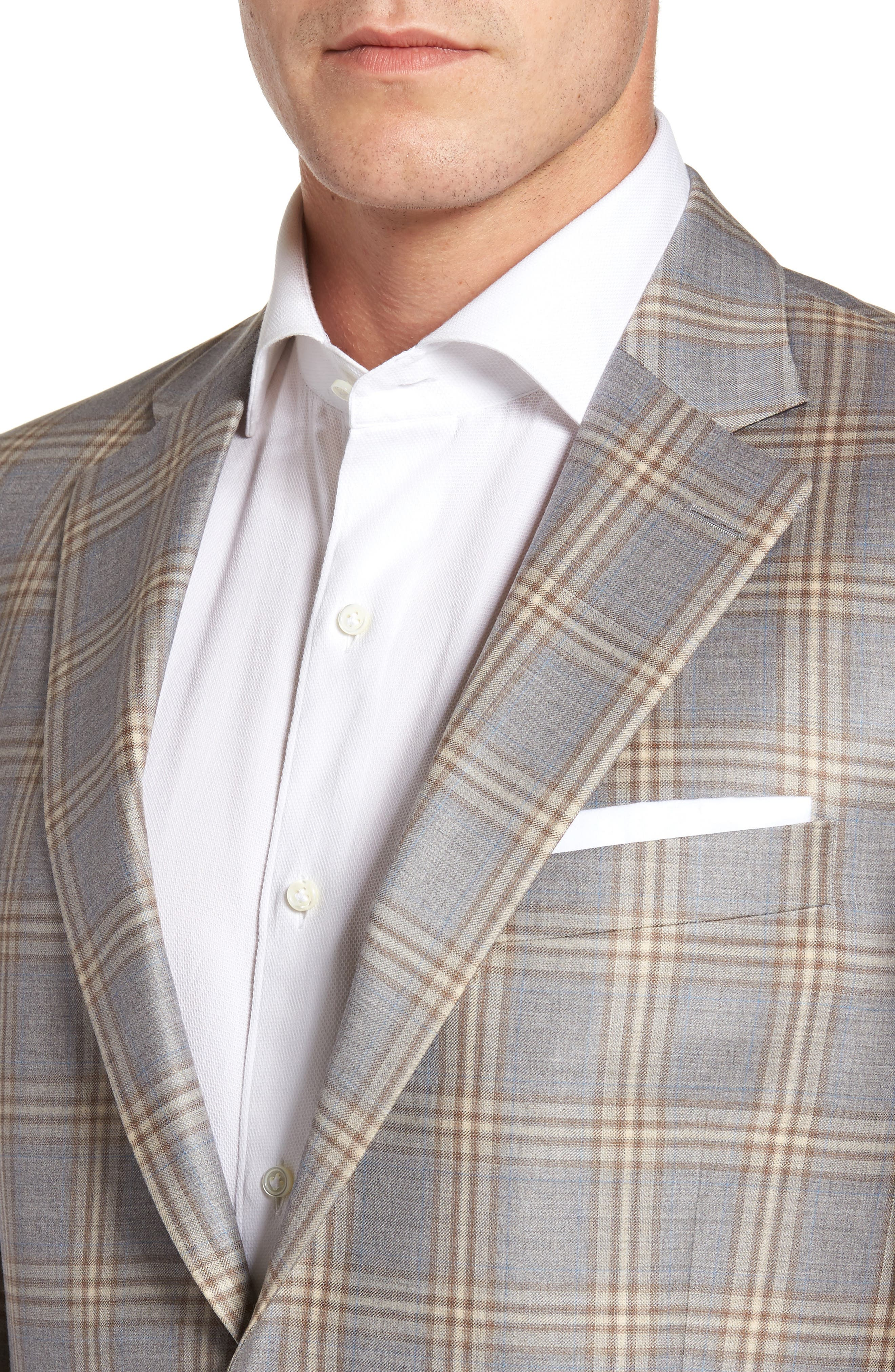 Flynn Classic Fit Plaid Wool Sport Coat,                             Alternate thumbnail 4, color,                             Grey