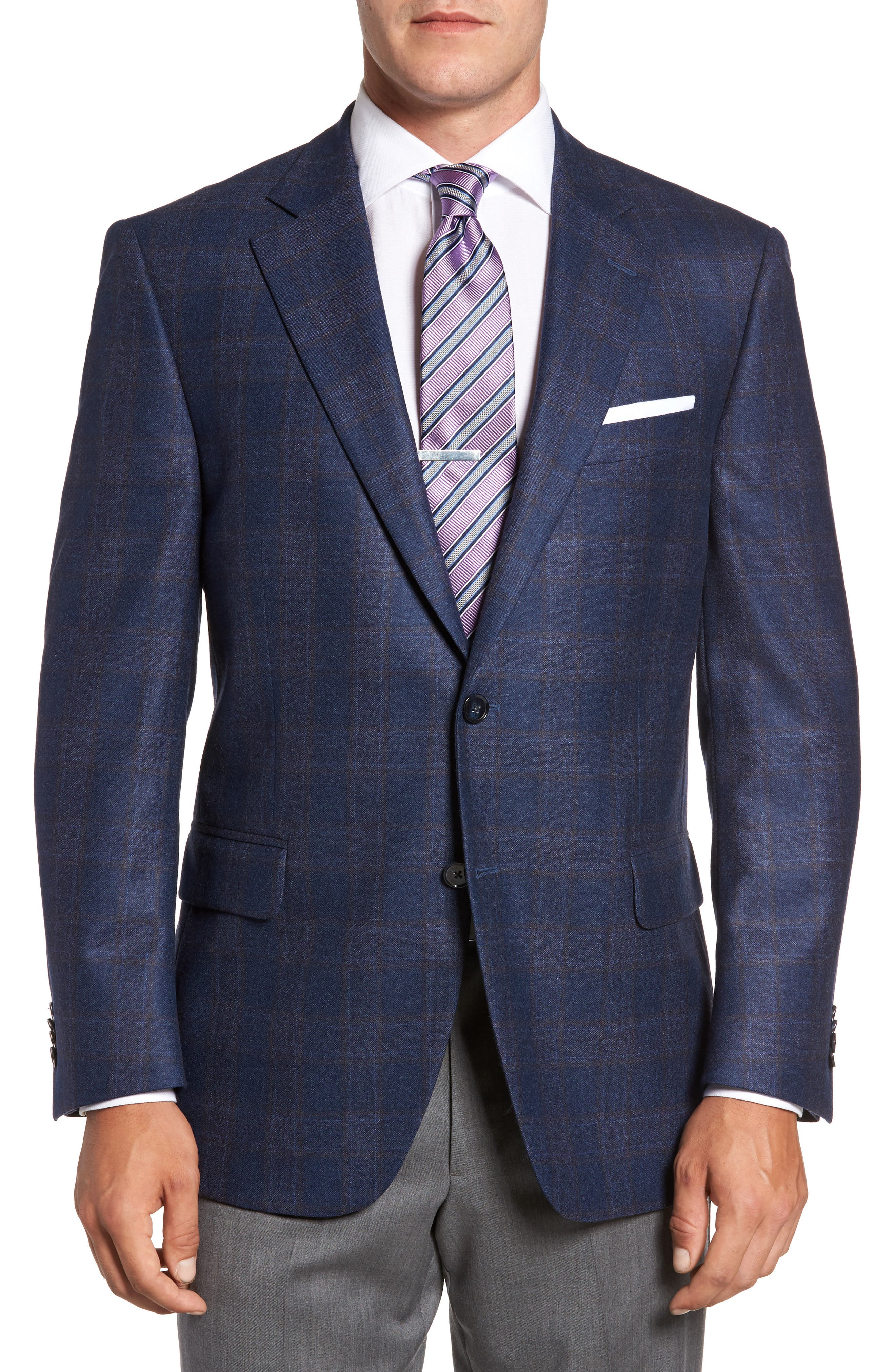 Flynn Classic Fit Plaid Wool Sport Coat,                         Main,                         color, Blue