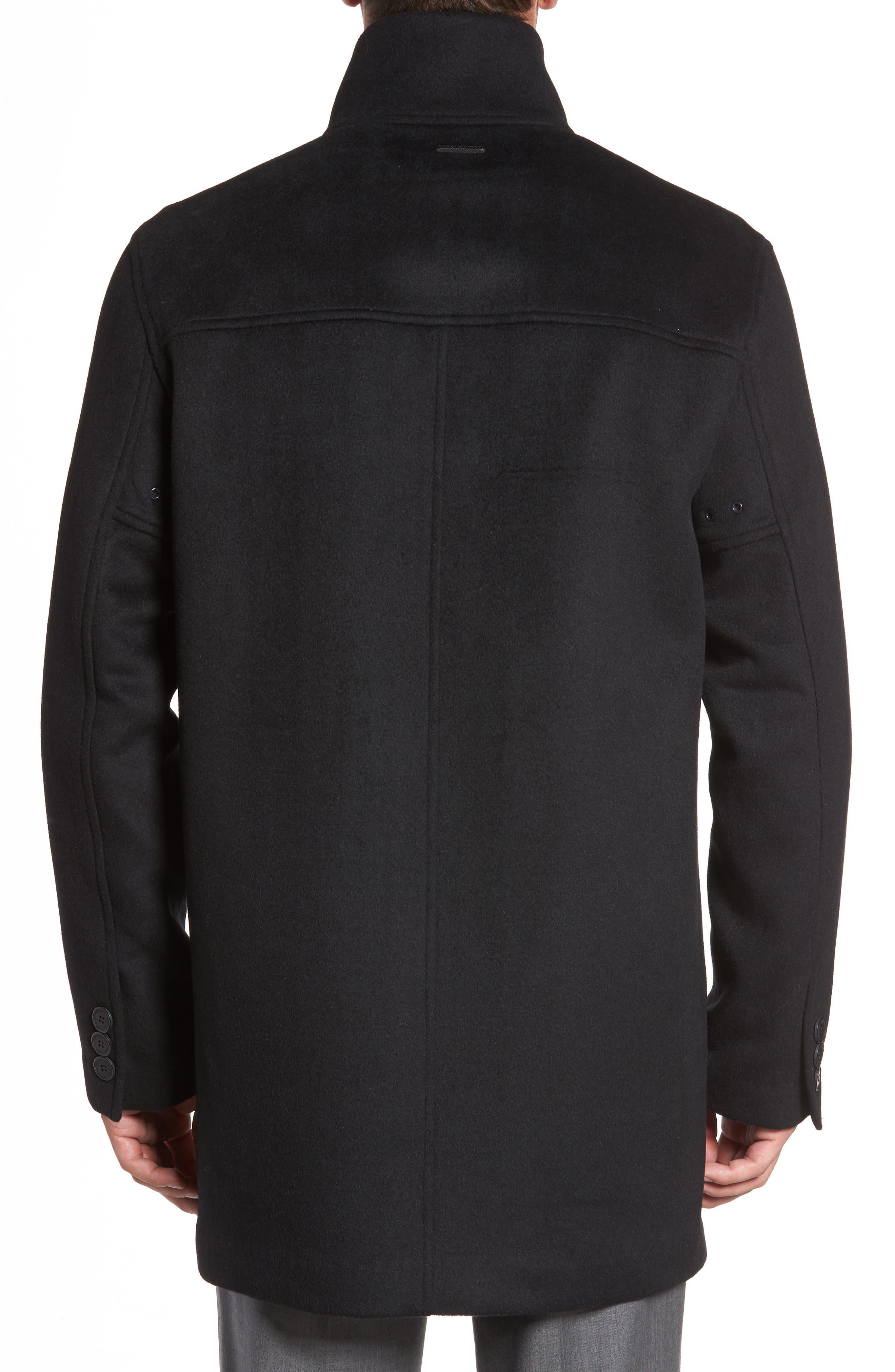 Double Face Wool Blend Car Coat,                             Alternate thumbnail 2, color,                             Black