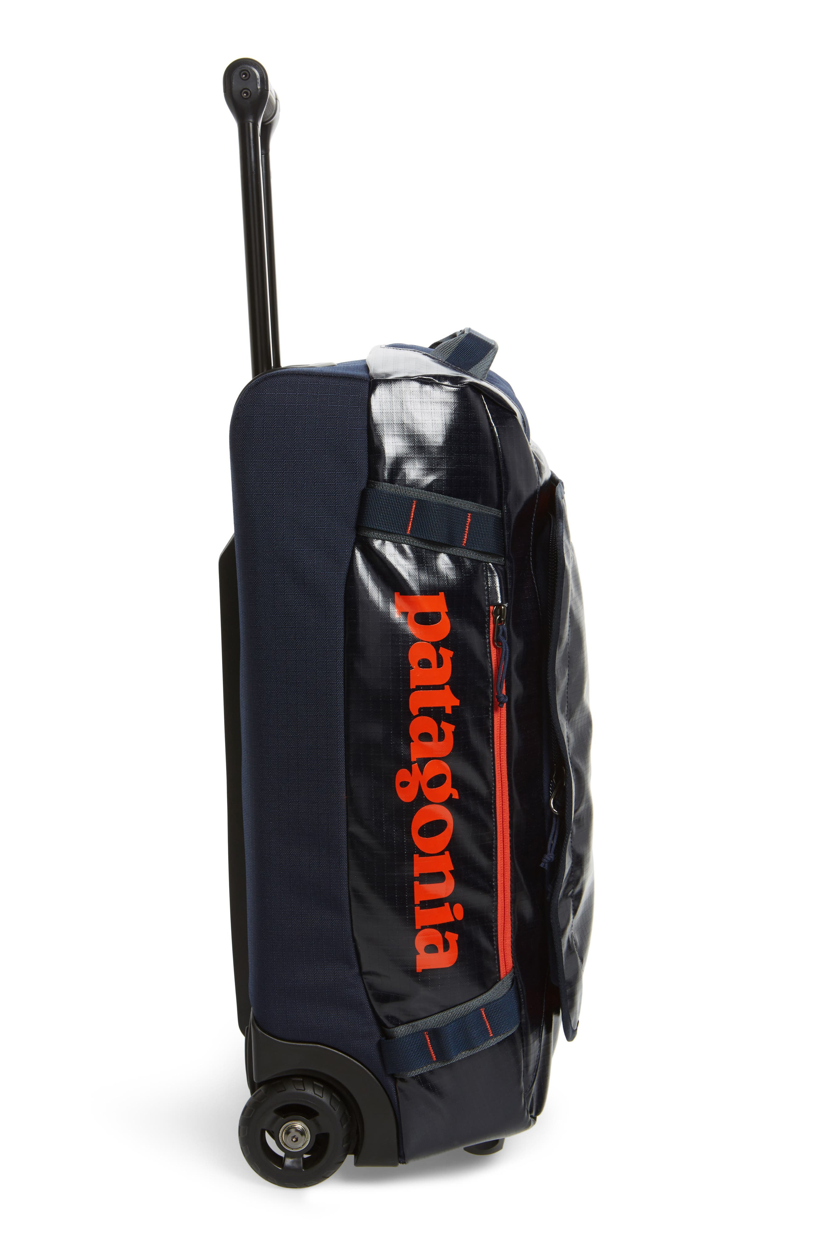 Black Hole 40-Liter Rolling Duffel Bag,                             Alternate thumbnail 3, color,                             Navy Blue/ Paintbrush Red