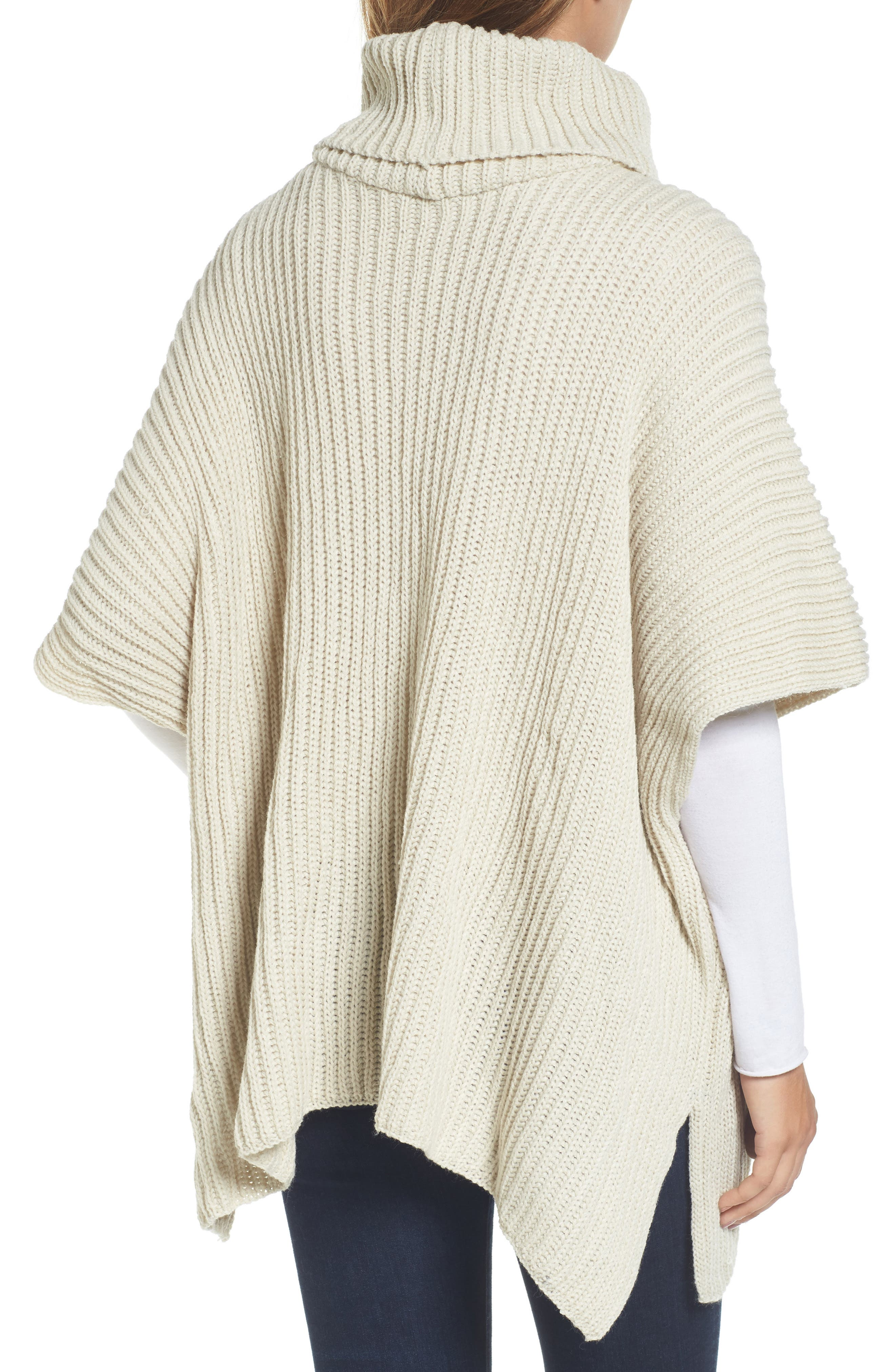 Cowl Neck Poncho,                             Alternate thumbnail 2, color,                             Ivory