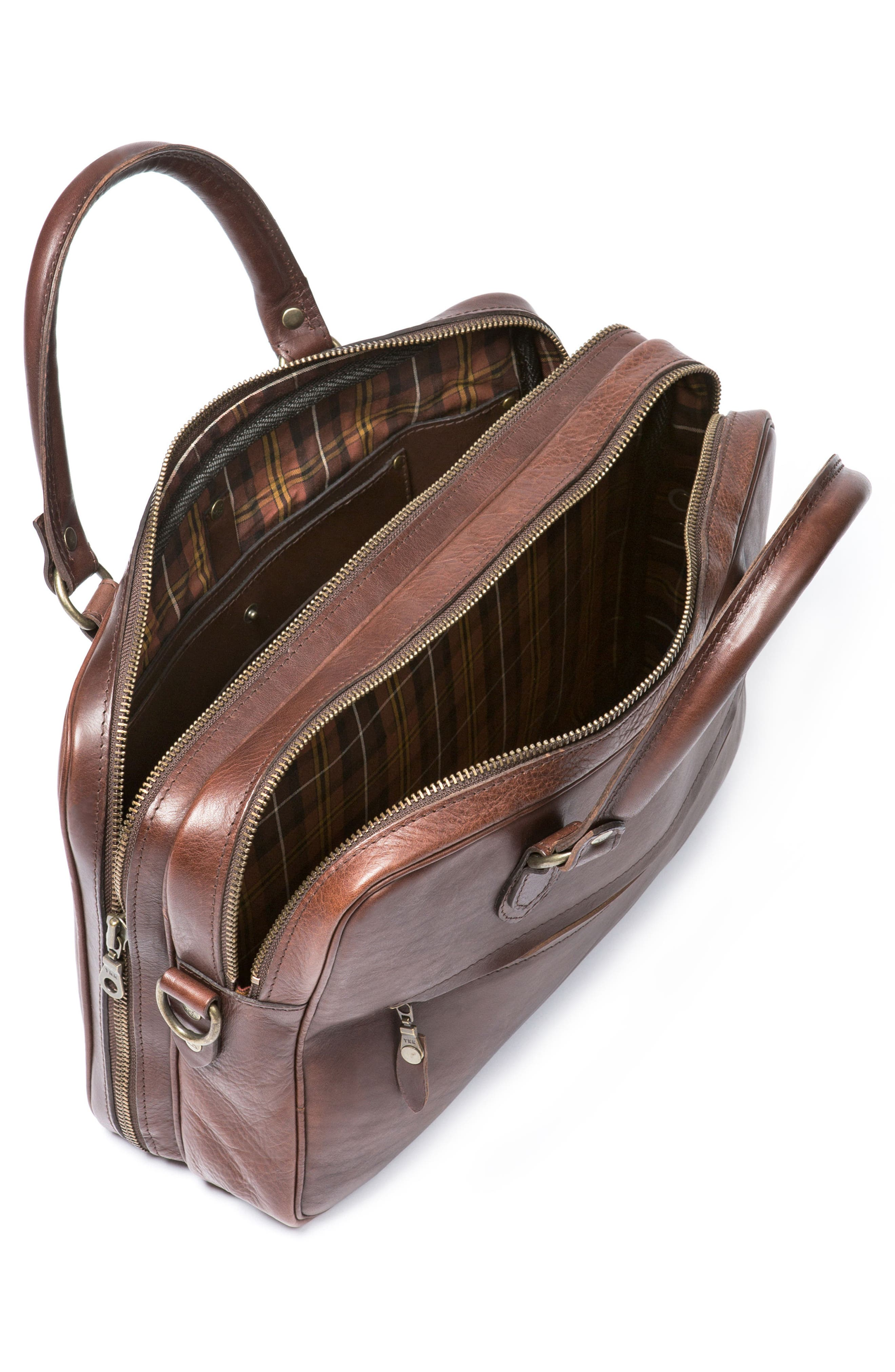 Britomart Leather Briefcase,                             Alternate thumbnail 3, color,                             Mud