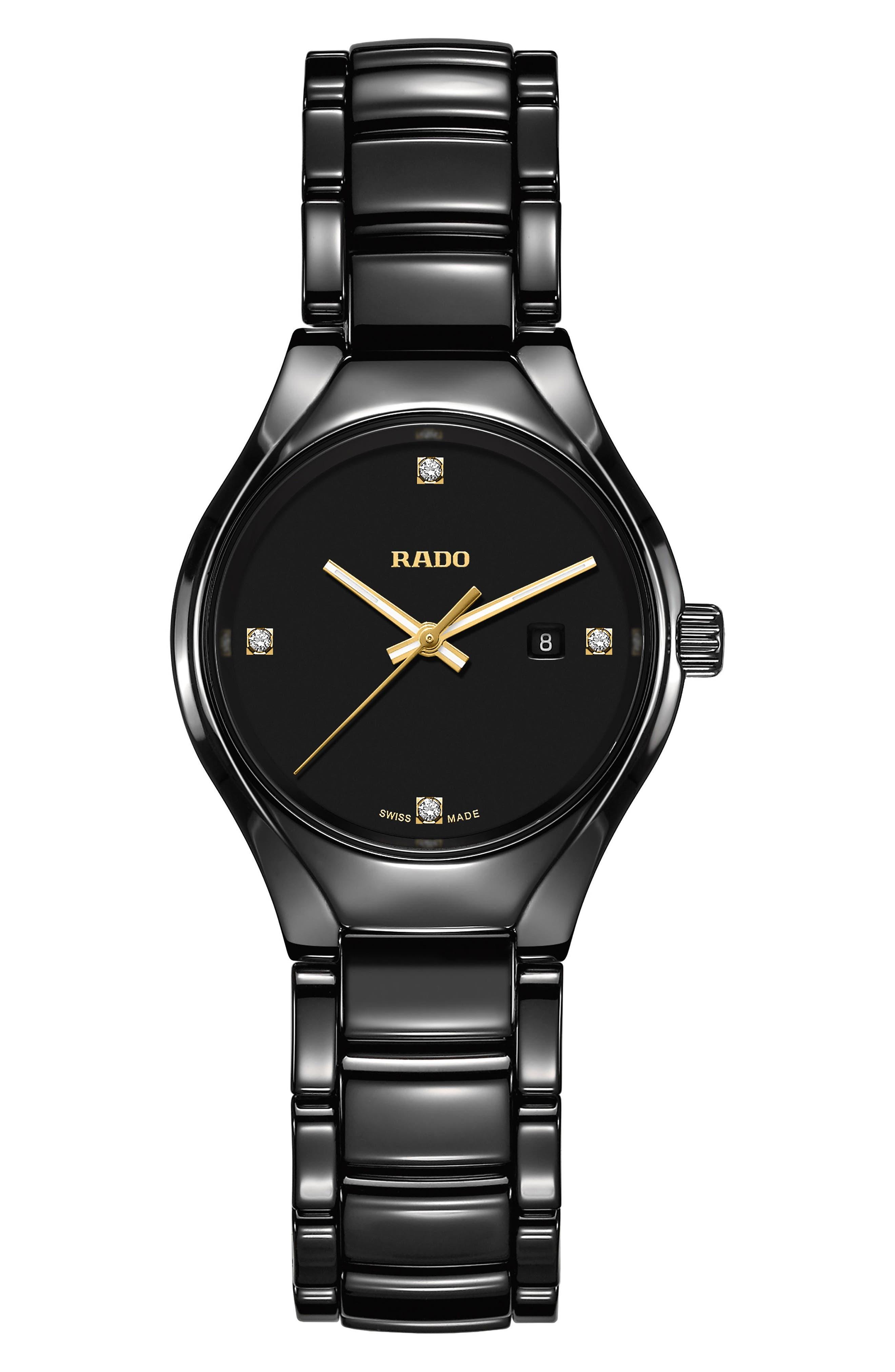 Main Image - RADO True Diamond Ceramic Bracelet Watch, 30mm