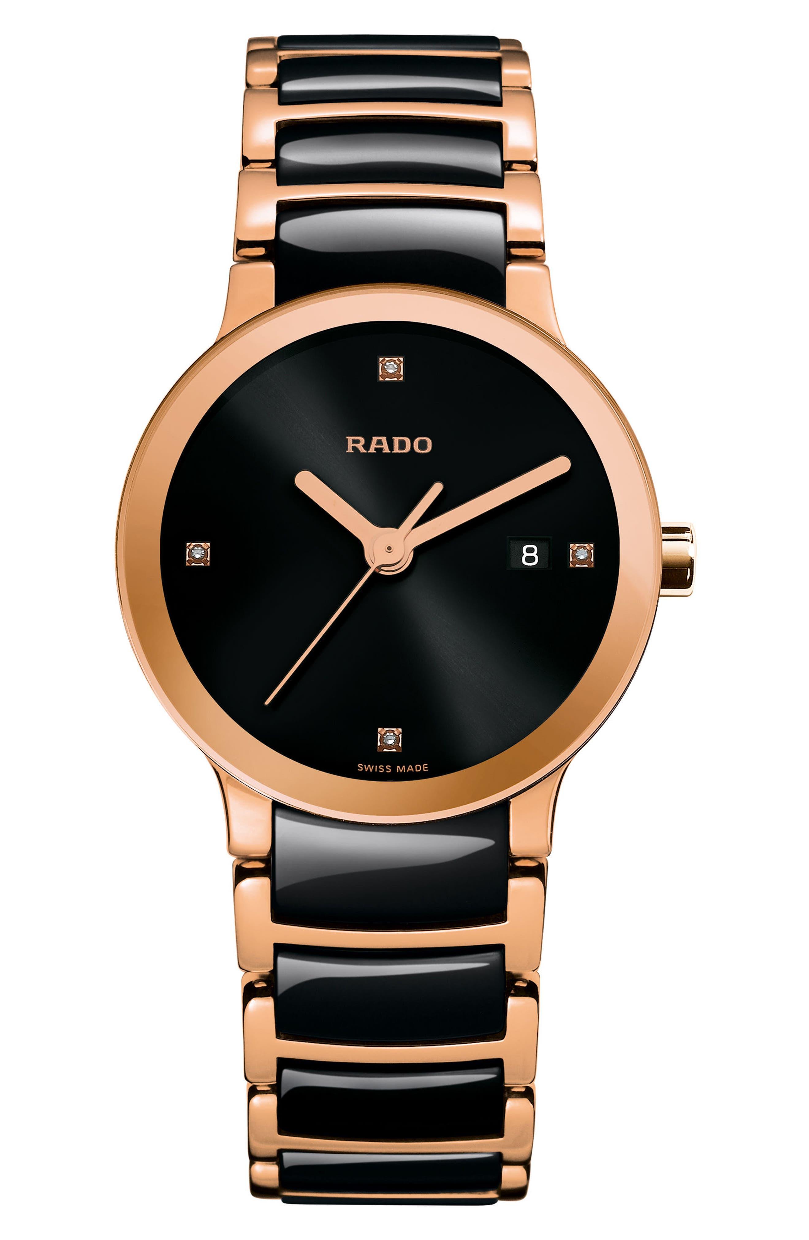 Centrix Diamond Ceramic Bracelet Watch, 28mm,                             Main thumbnail 1, color,                             Rose Gold/ Black