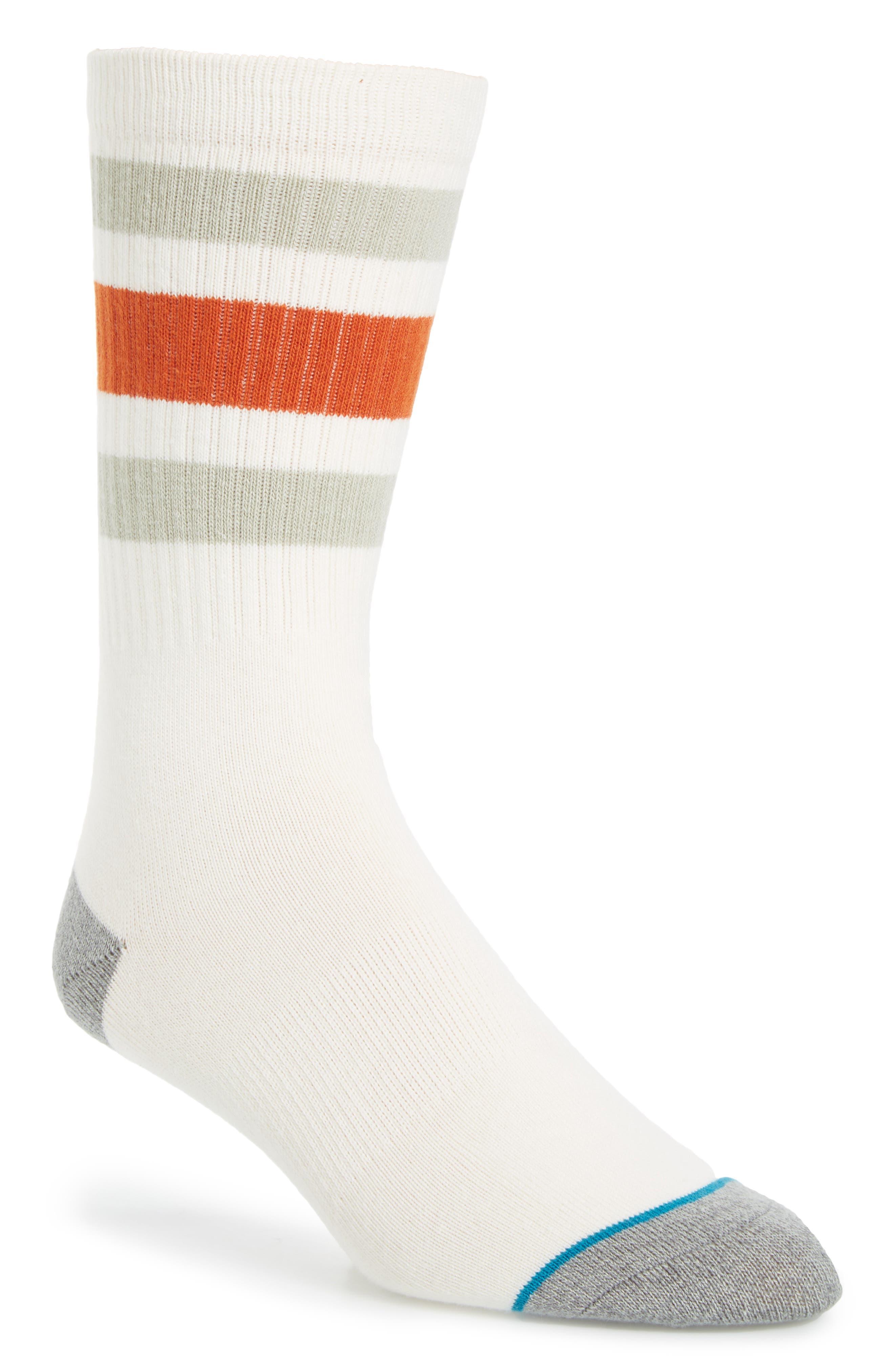 Stripe Crew Socks,                             Main thumbnail 1, color,                             Natural