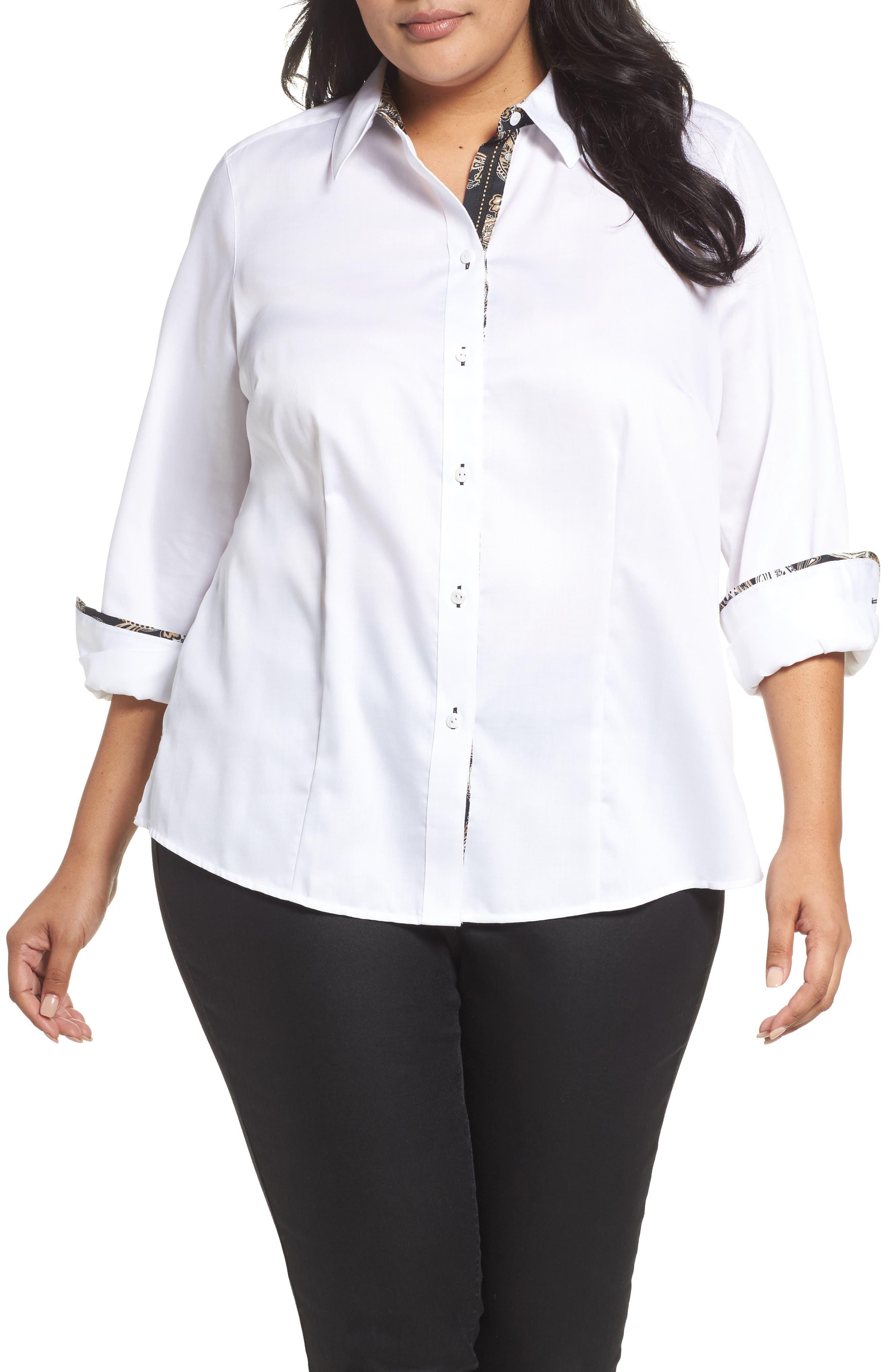 Main Image - Foxcroft Brooke Contrast Trim Sateen Shirt (Plus Size)