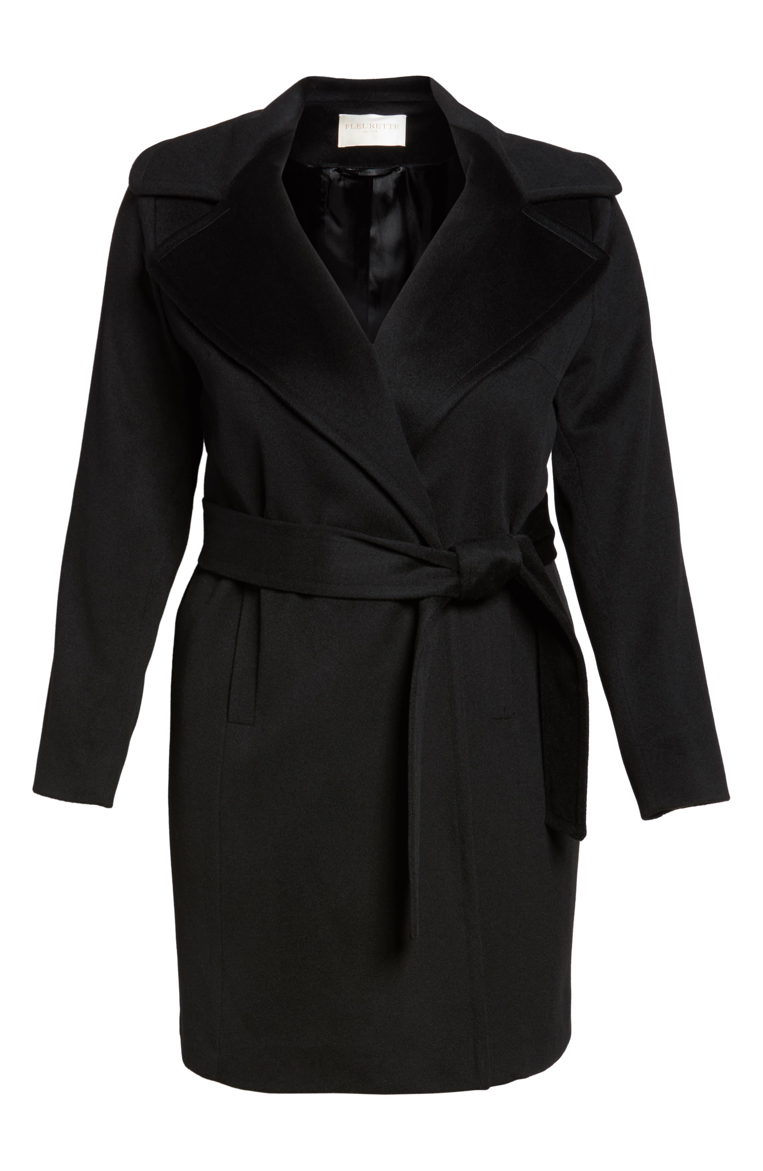 Alternate Image 6  - Fleurette Wool Wrap Coat (Plus Size)