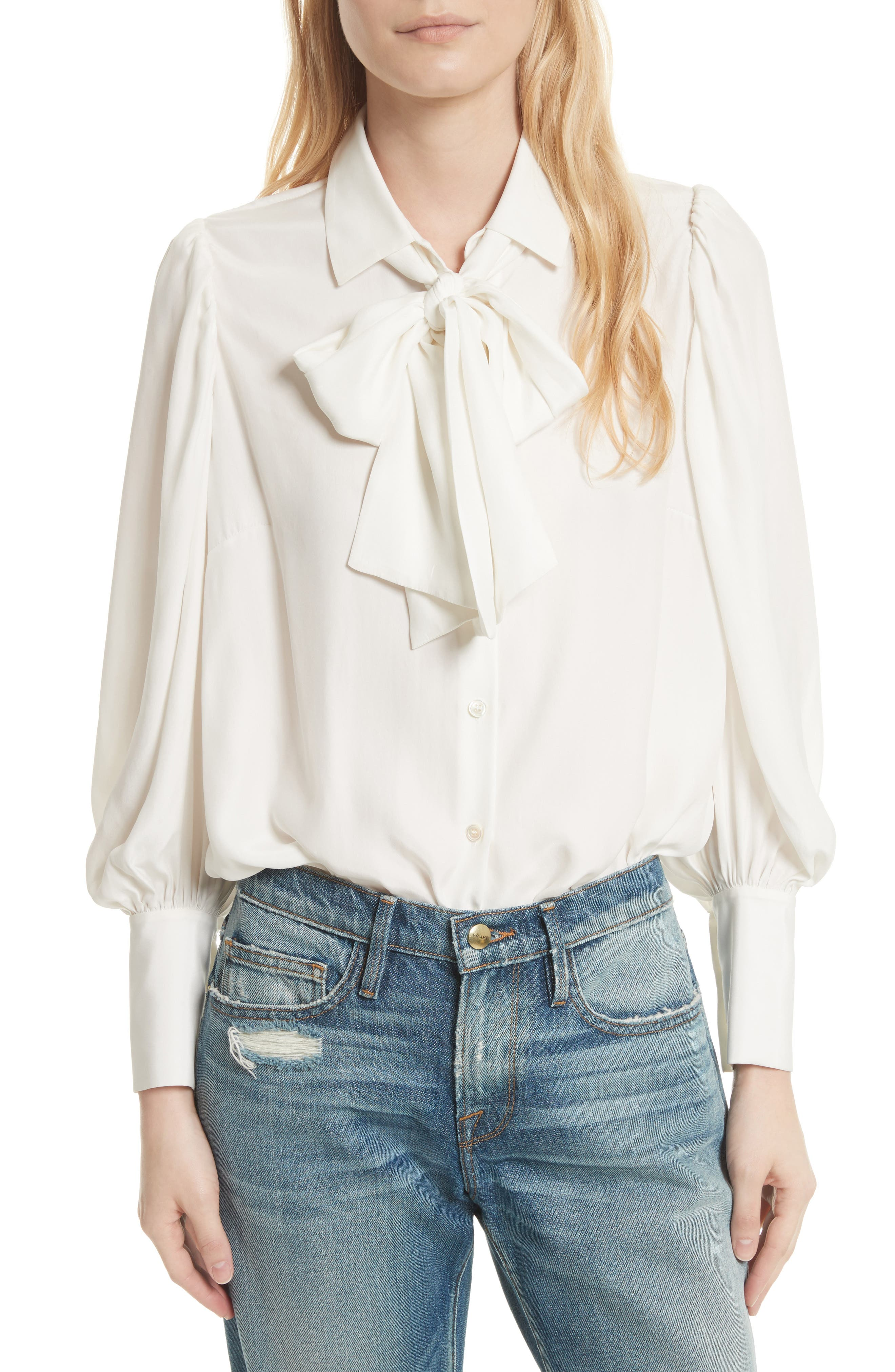 Voluminous Silk Blouse,                         Main,                         color, Off White
