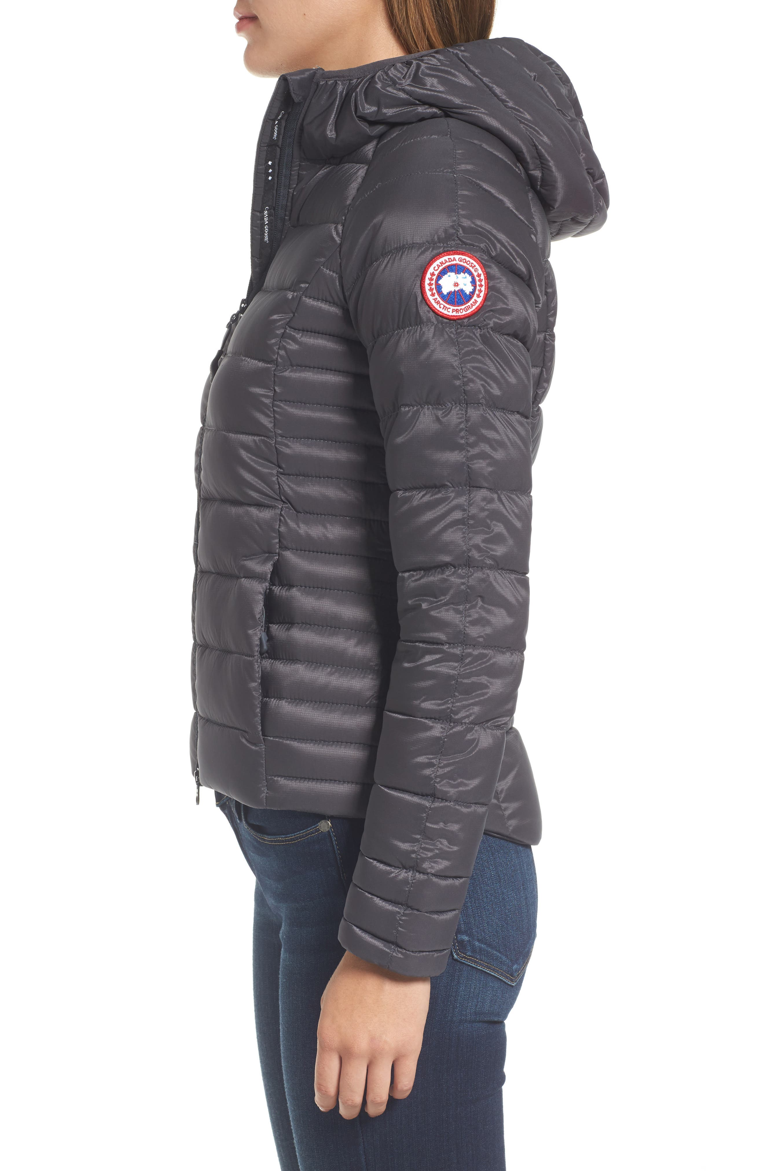 'Brookvale' Packable Hooded Quilted Down Jacket,                             Alternate thumbnail 3, color,                             Graphite/ Black