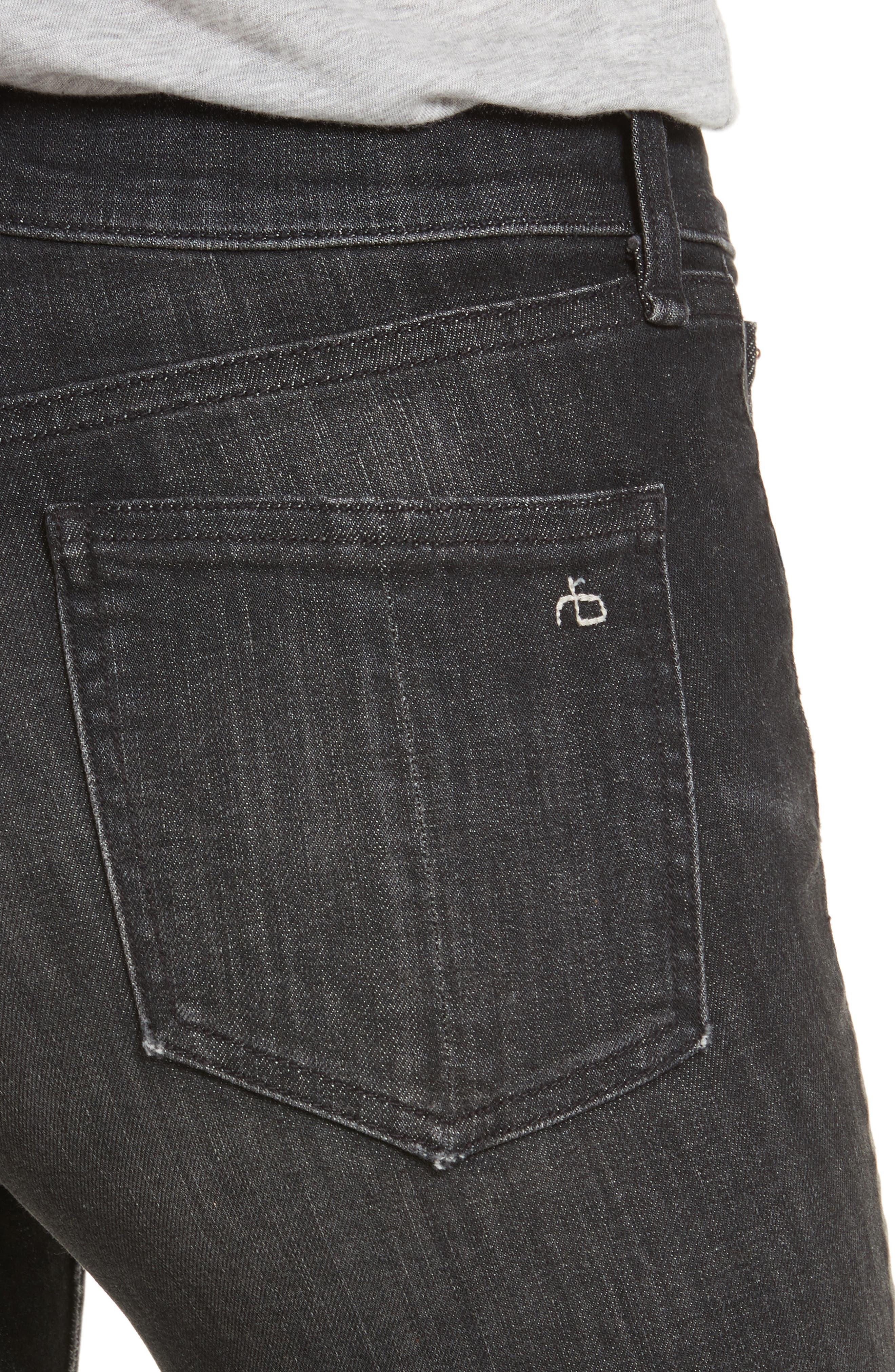 High Waist Ankle Skinny Jeans,                             Alternate thumbnail 4, color,                             Black Lock