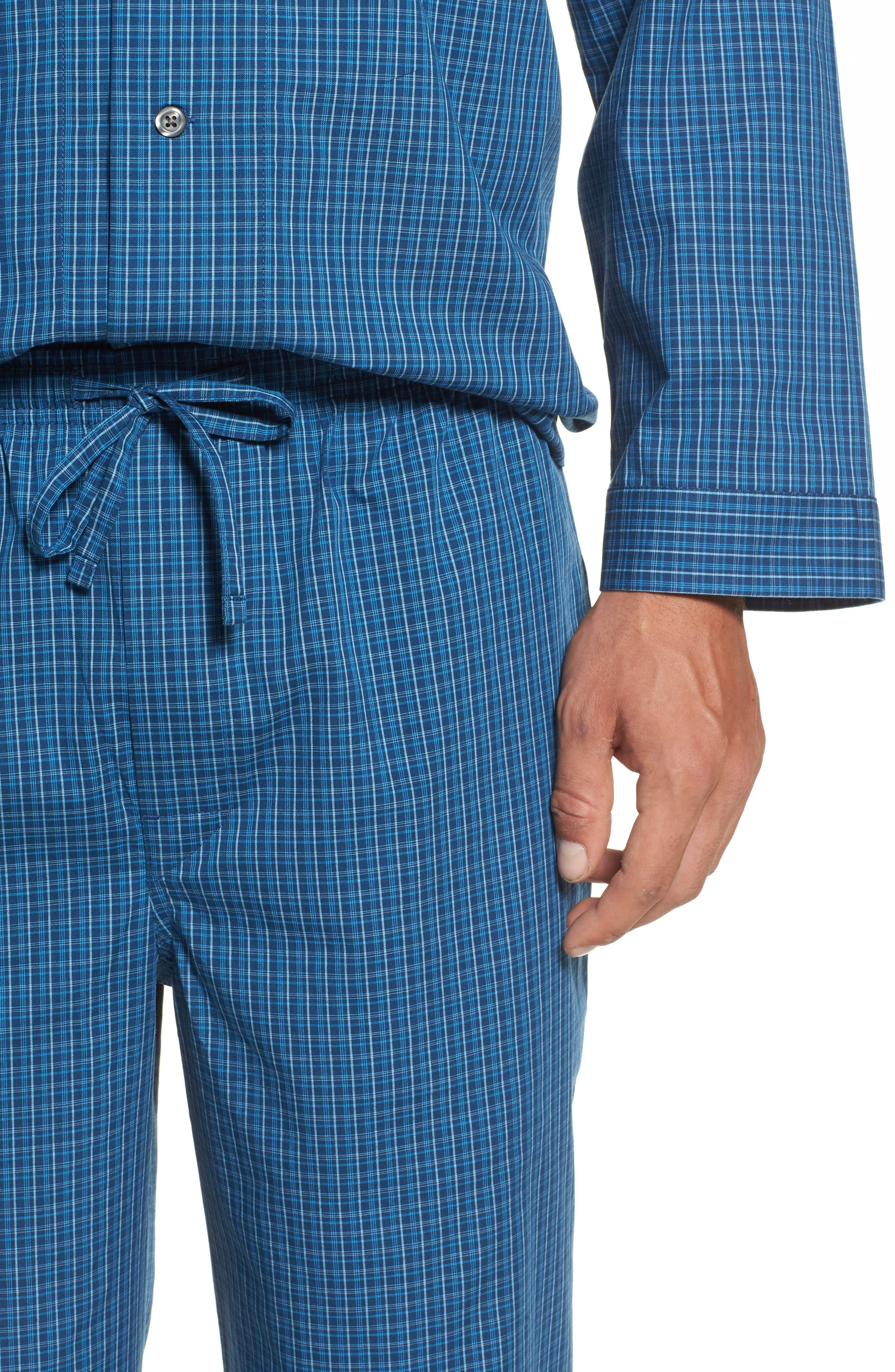 Poplin Pajama Set,                             Alternate thumbnail 4, color,                             Navy Medieval- Blue Plaid