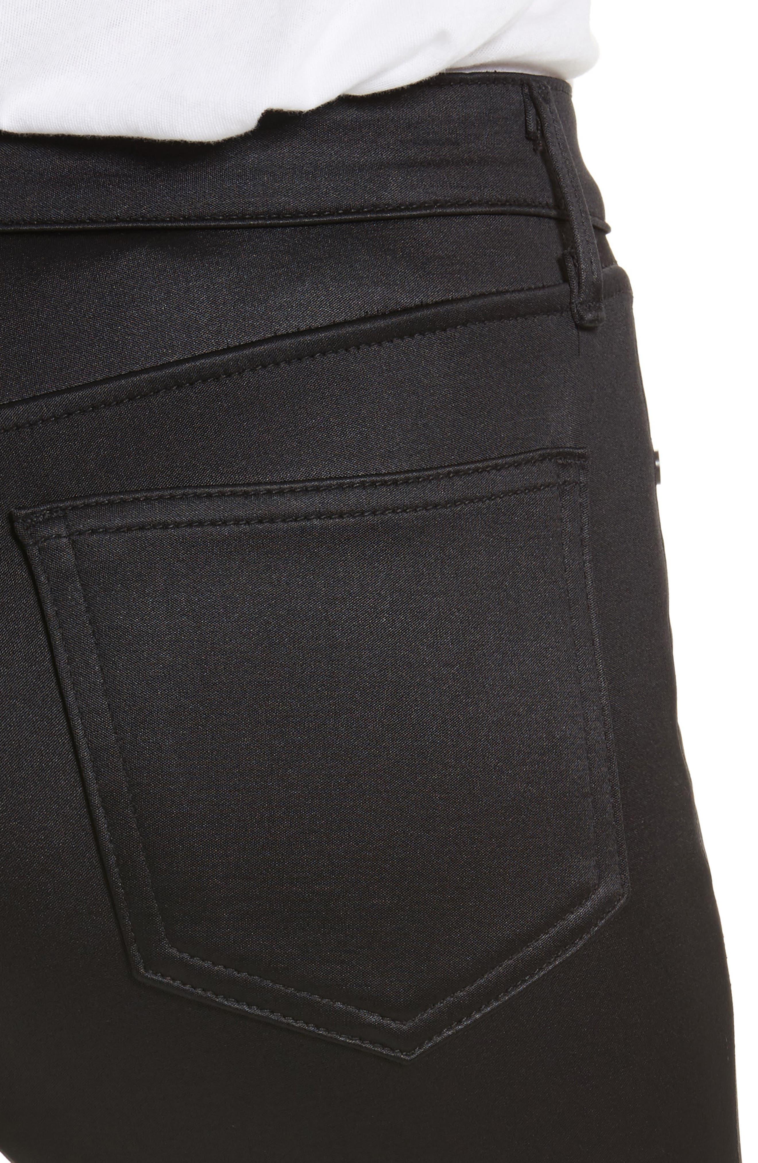High Waist Ankle Skinny Jeans,                             Alternate thumbnail 4, color,                             Black Sateen