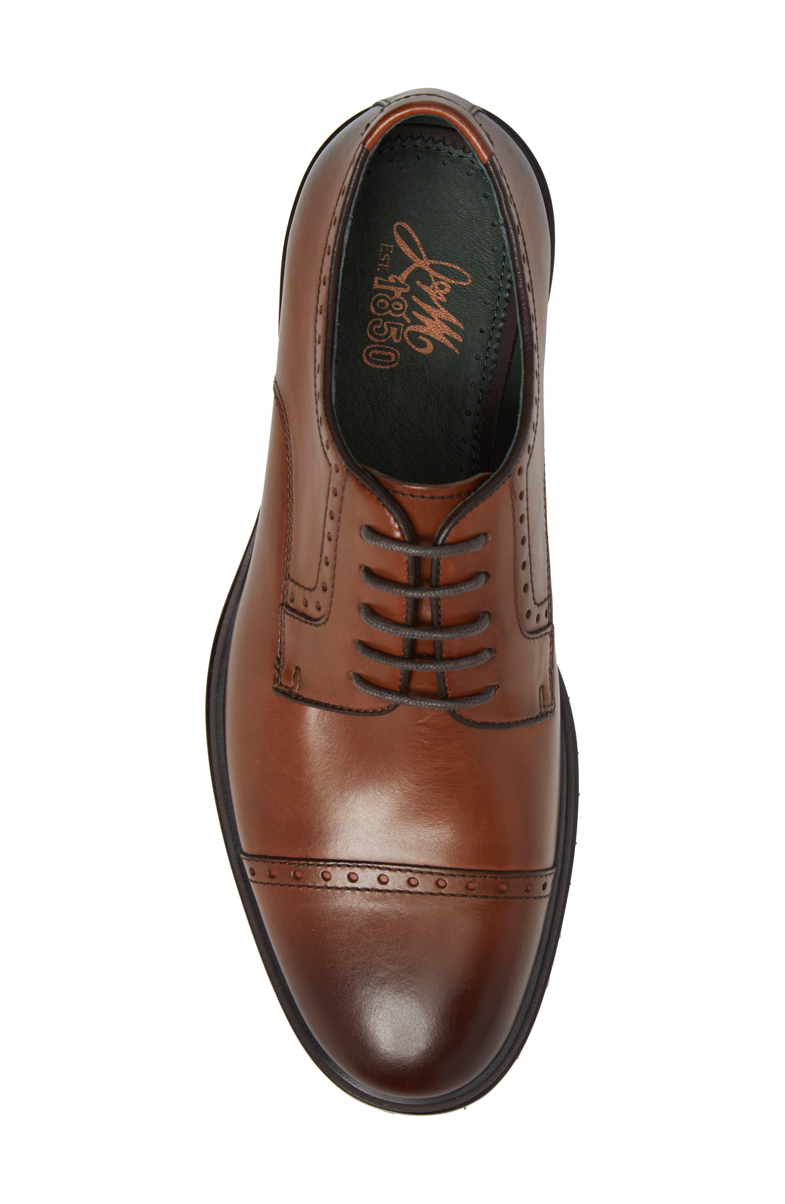 Myles Cap Toe Derby,                             Alternate thumbnail 5, color,                             Dark Cognac Leather