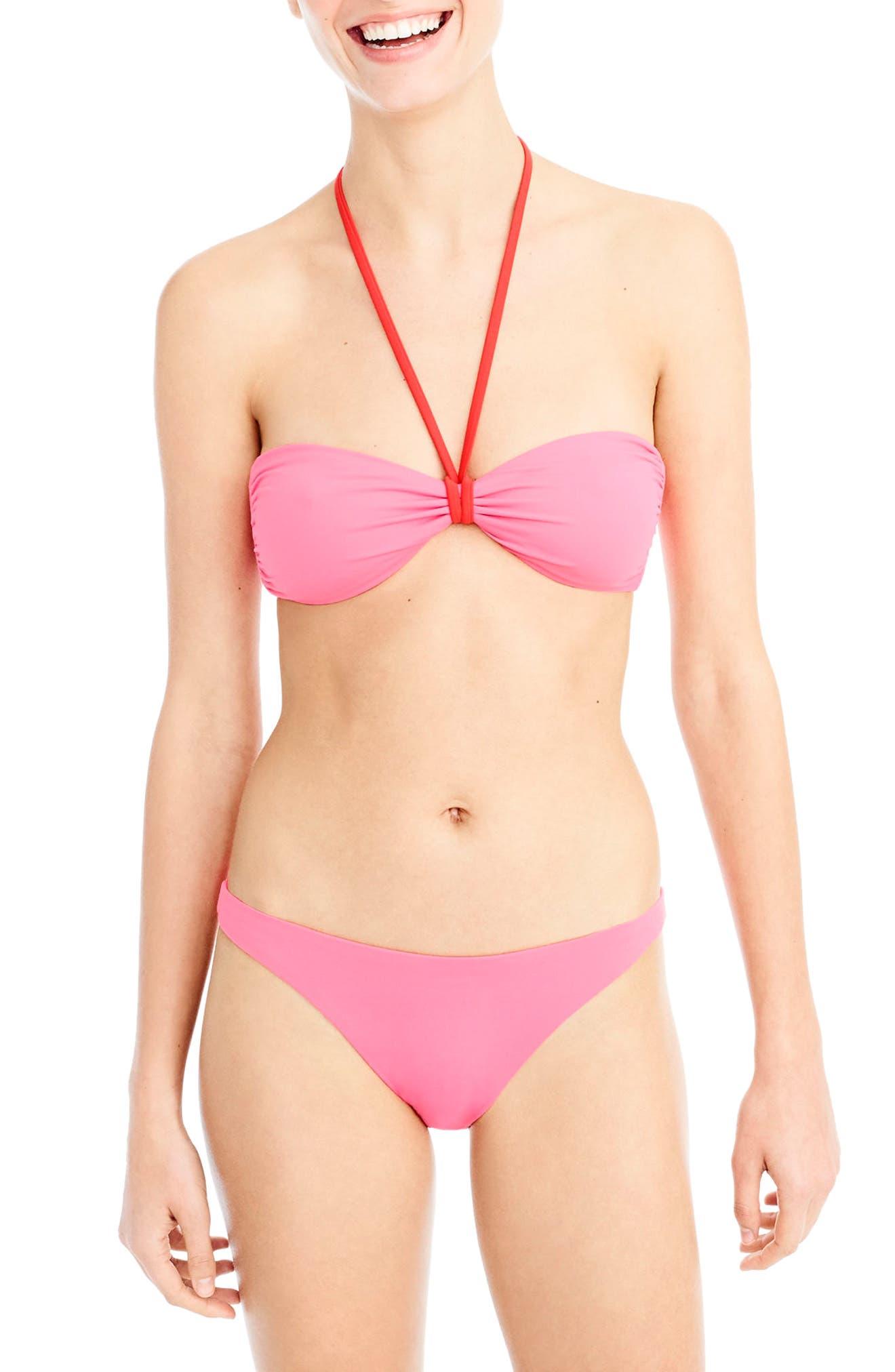 Reversible Bandeau Bikini Top,                         Main,                         color, Pink/ Orange
