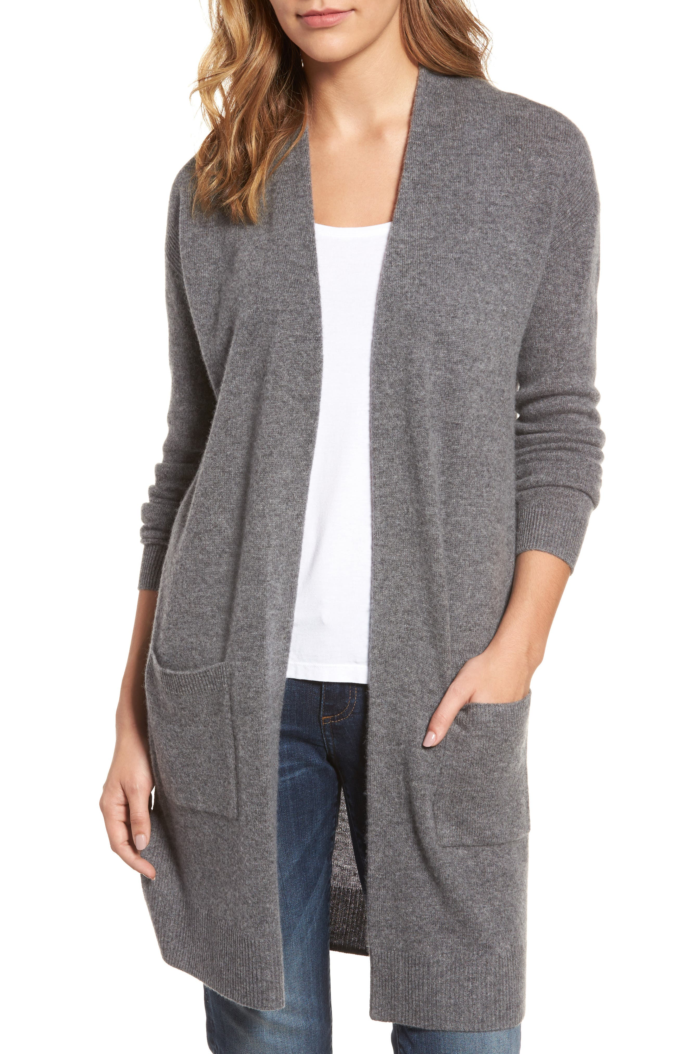Halogen® Rib Knit Wool & Cashmere Cardigan (Regular & Petite)