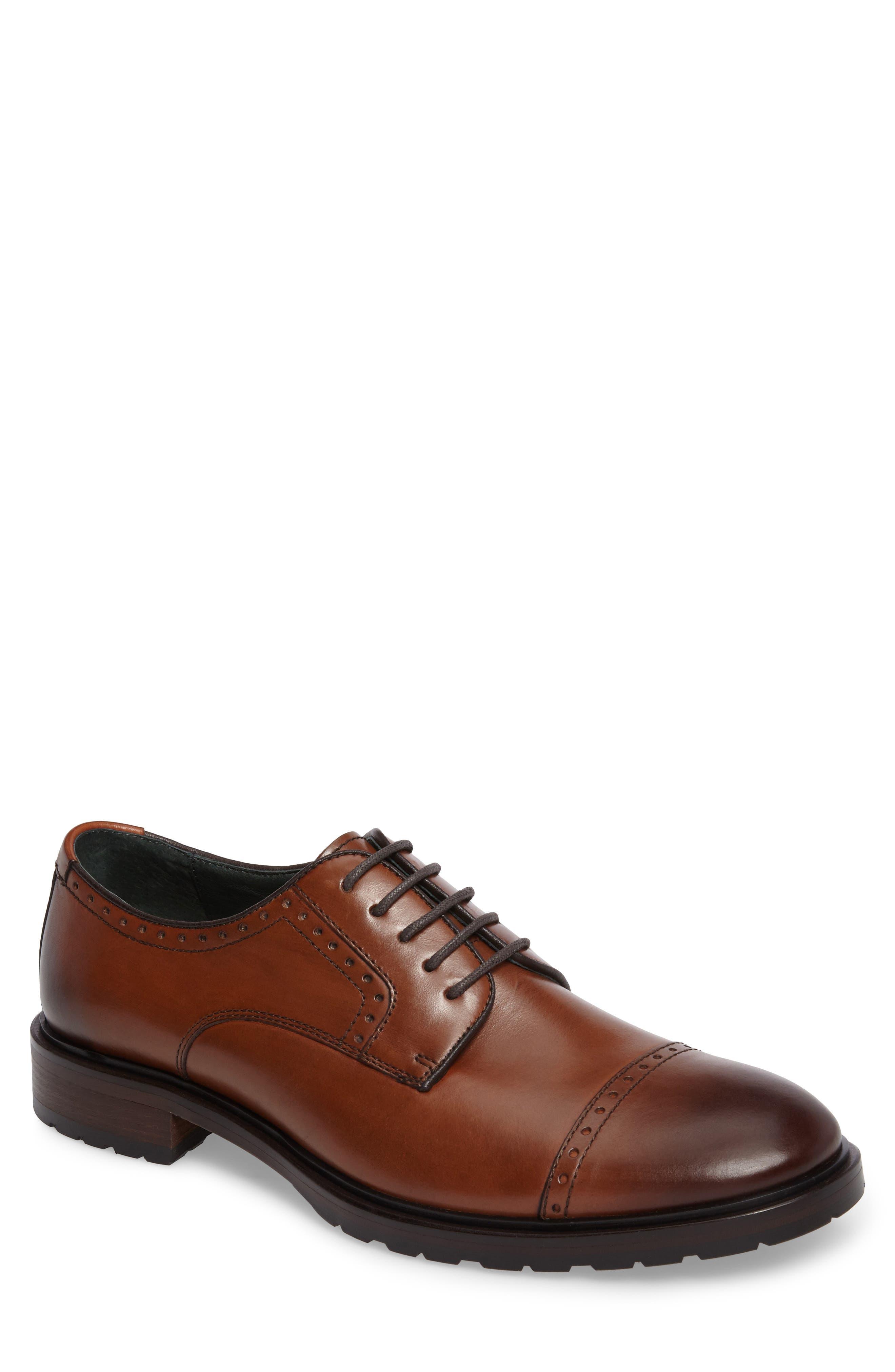 Myles Cap Toe Derby,                         Main,                         color, Dark Cognac Leather