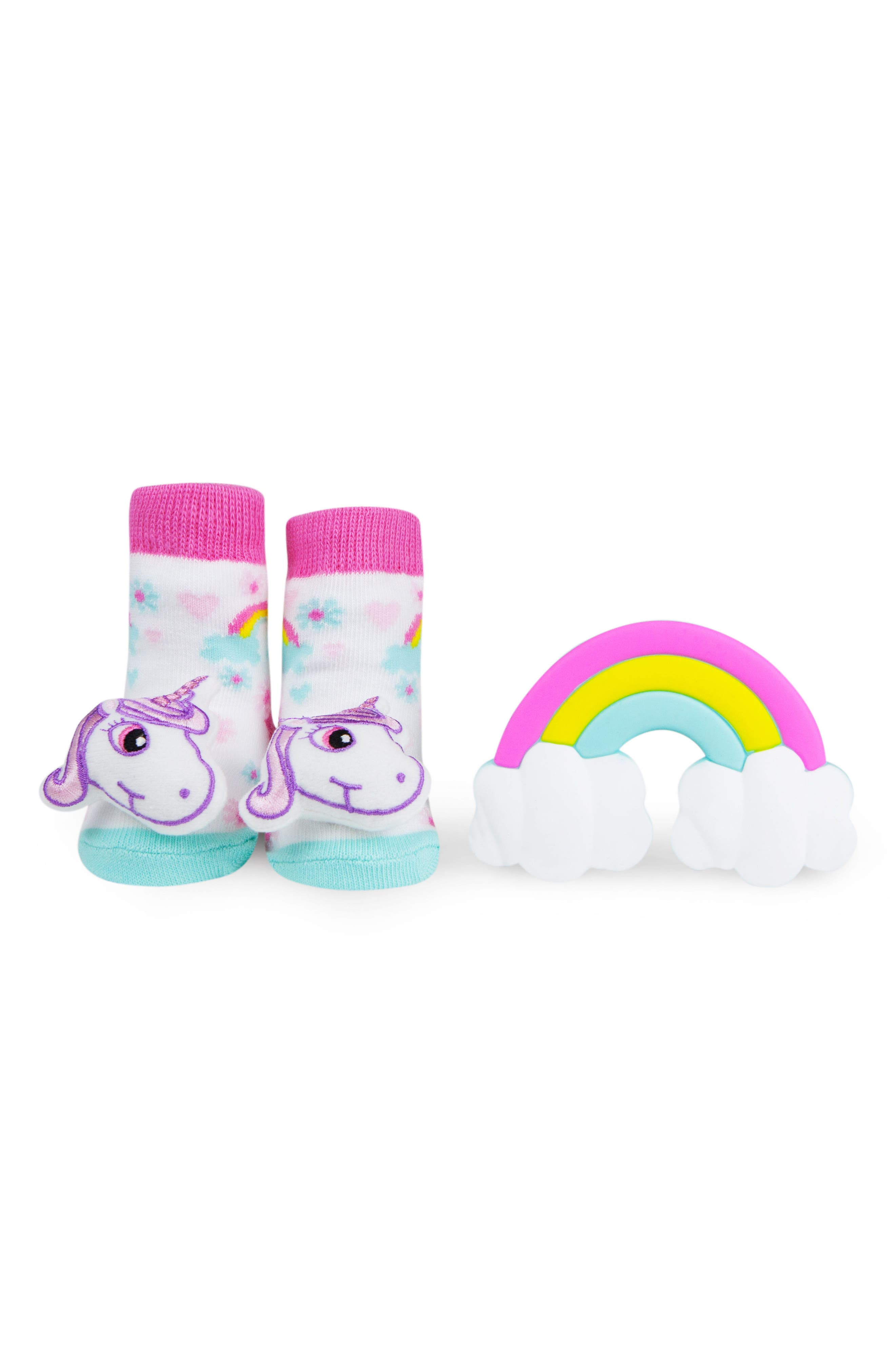 & Friends Unicorn Rattle Socks & Teether Gift Set,                             Main thumbnail 1, color,                             White