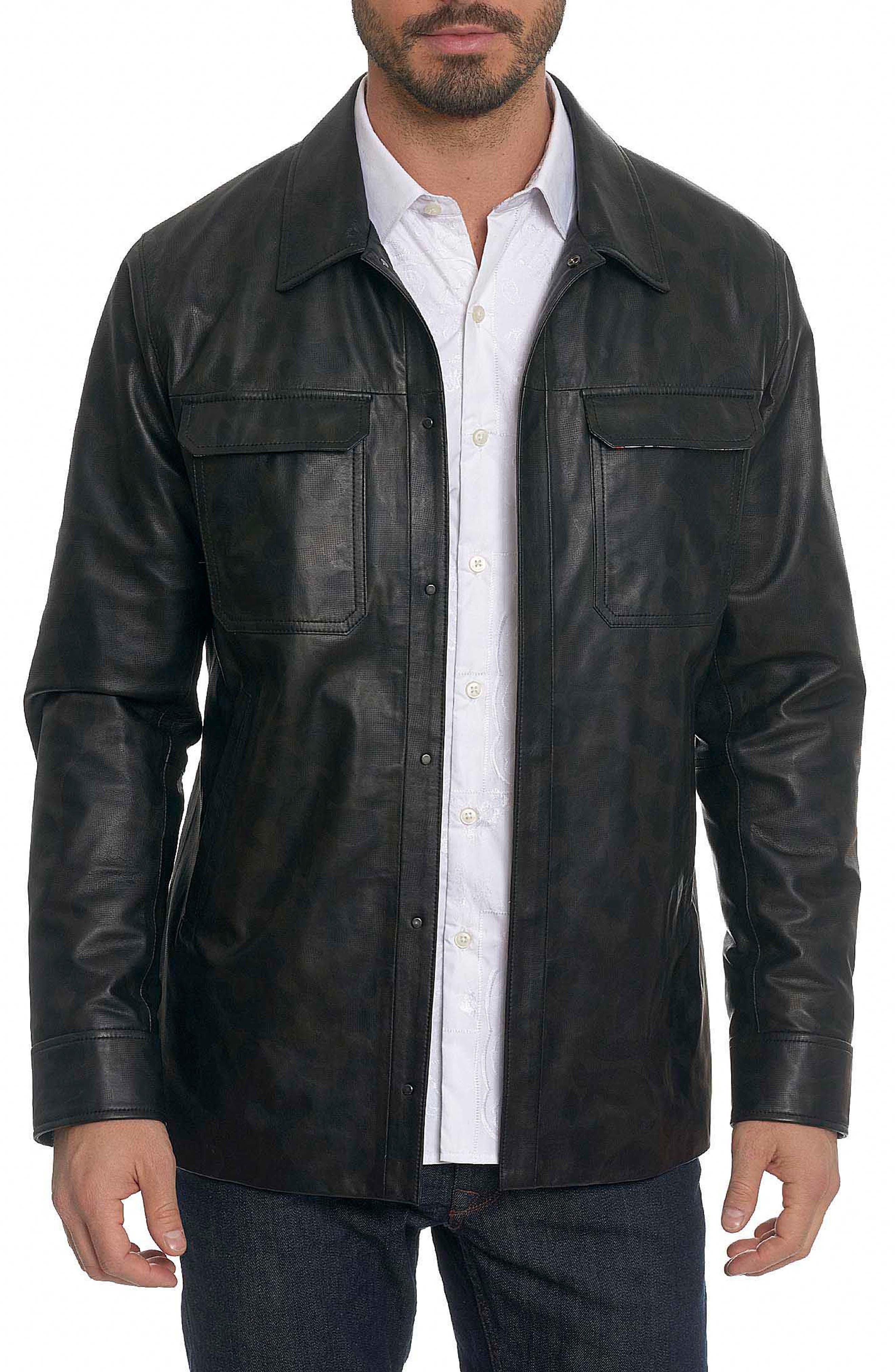 Colden Camo Leather Shirt Jacket,                             Main thumbnail 1, color,                             Black